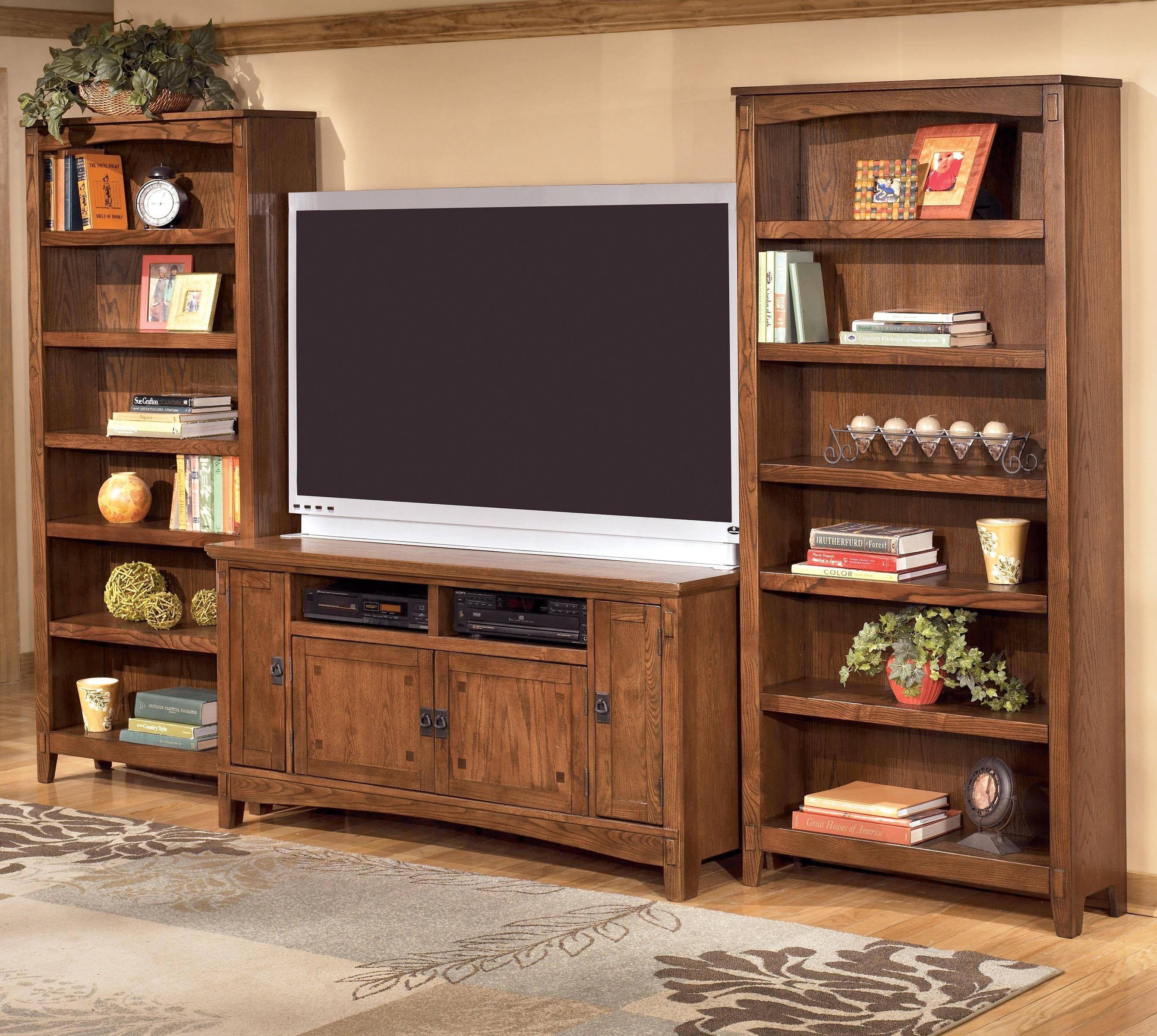 Ashley Furniture Cross Island 60 Inch Tv Stand & 2 Large Bookcases regarding Tv Stands With Matching Bookcases (Image 2 of 15)