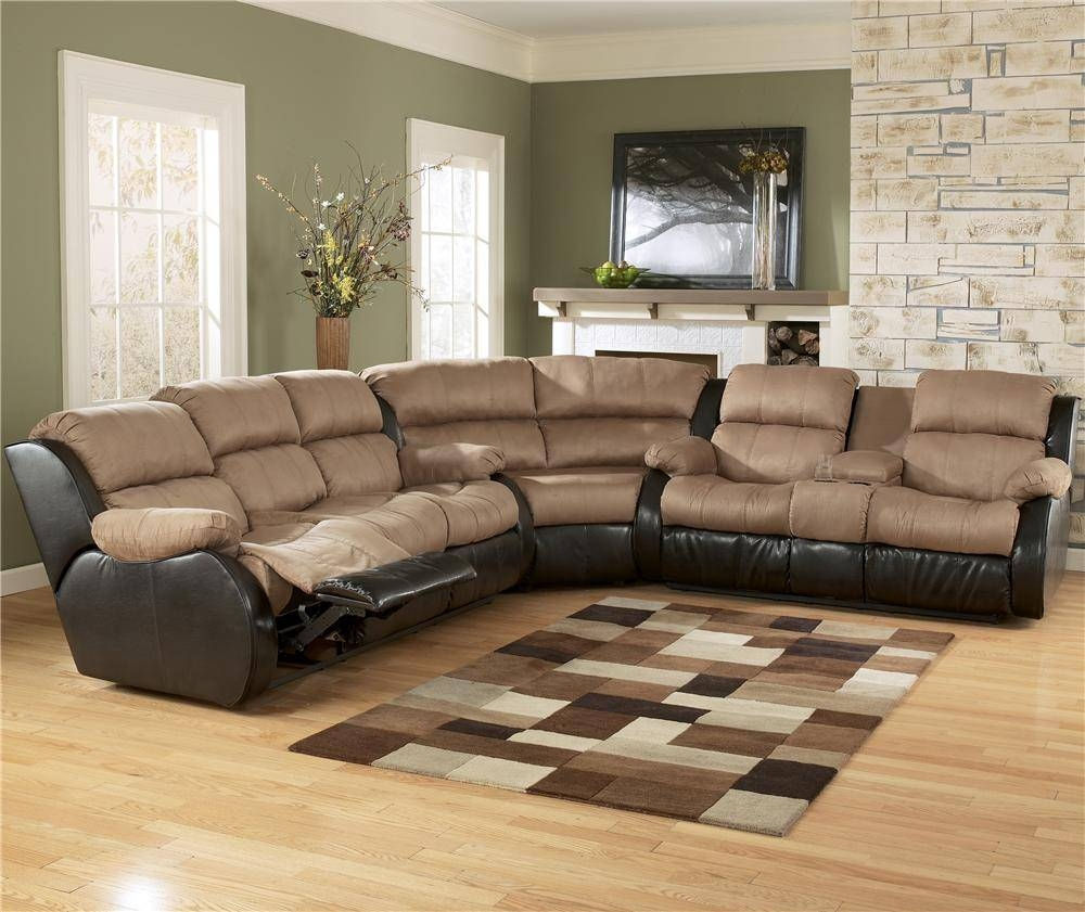 Ashley Furniture Presley - Cocoa 3-Piece Sectional Sofa With regarding Ashley Furniture Leather Sectional Sofas (Image 5 of 15)