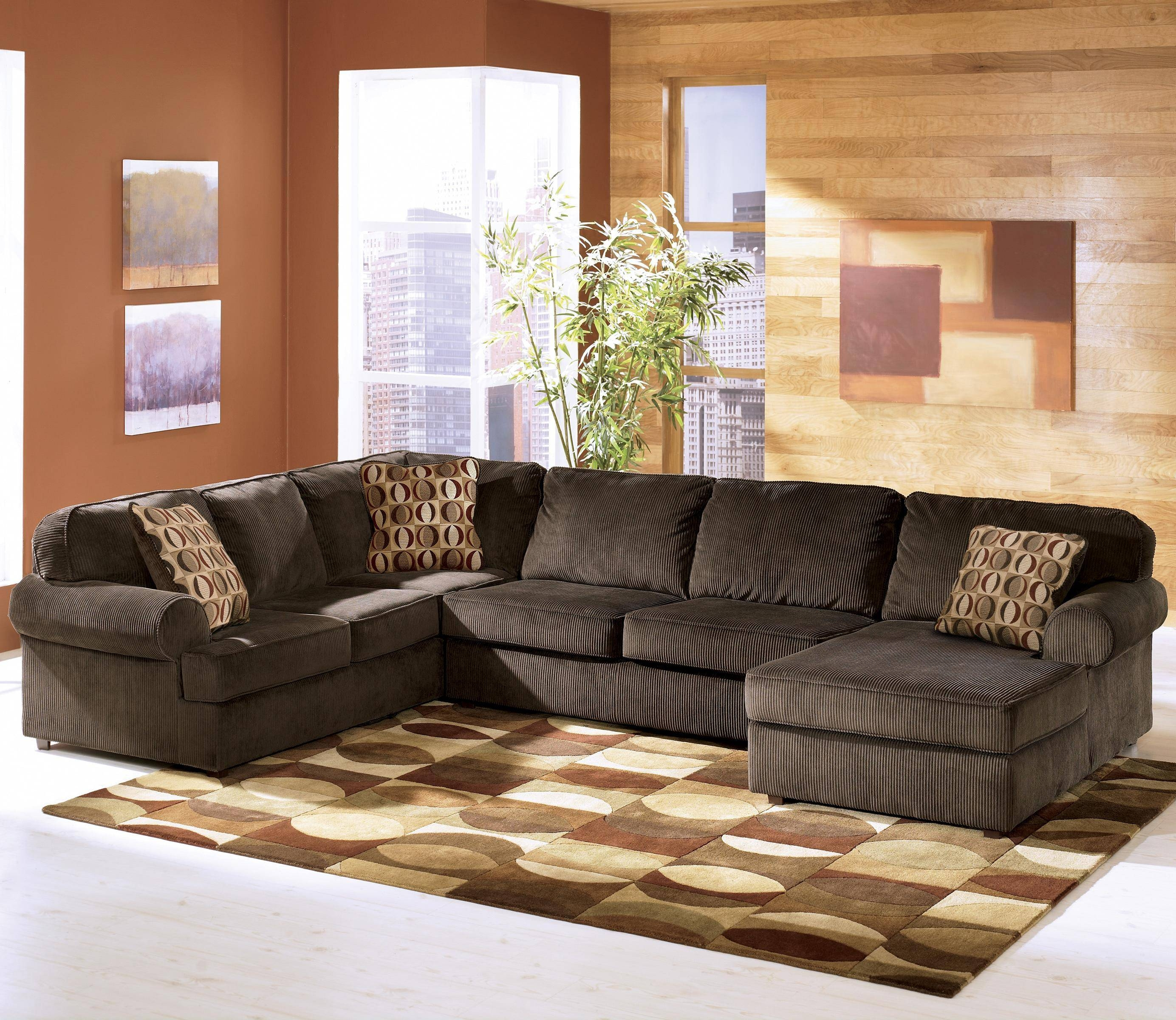 Ashley Furniture Vista - Chocolate Casual 3-Piece Sectional With for Ashley Furniture Corduroy Sectional Sofas (Image 8 of 15)