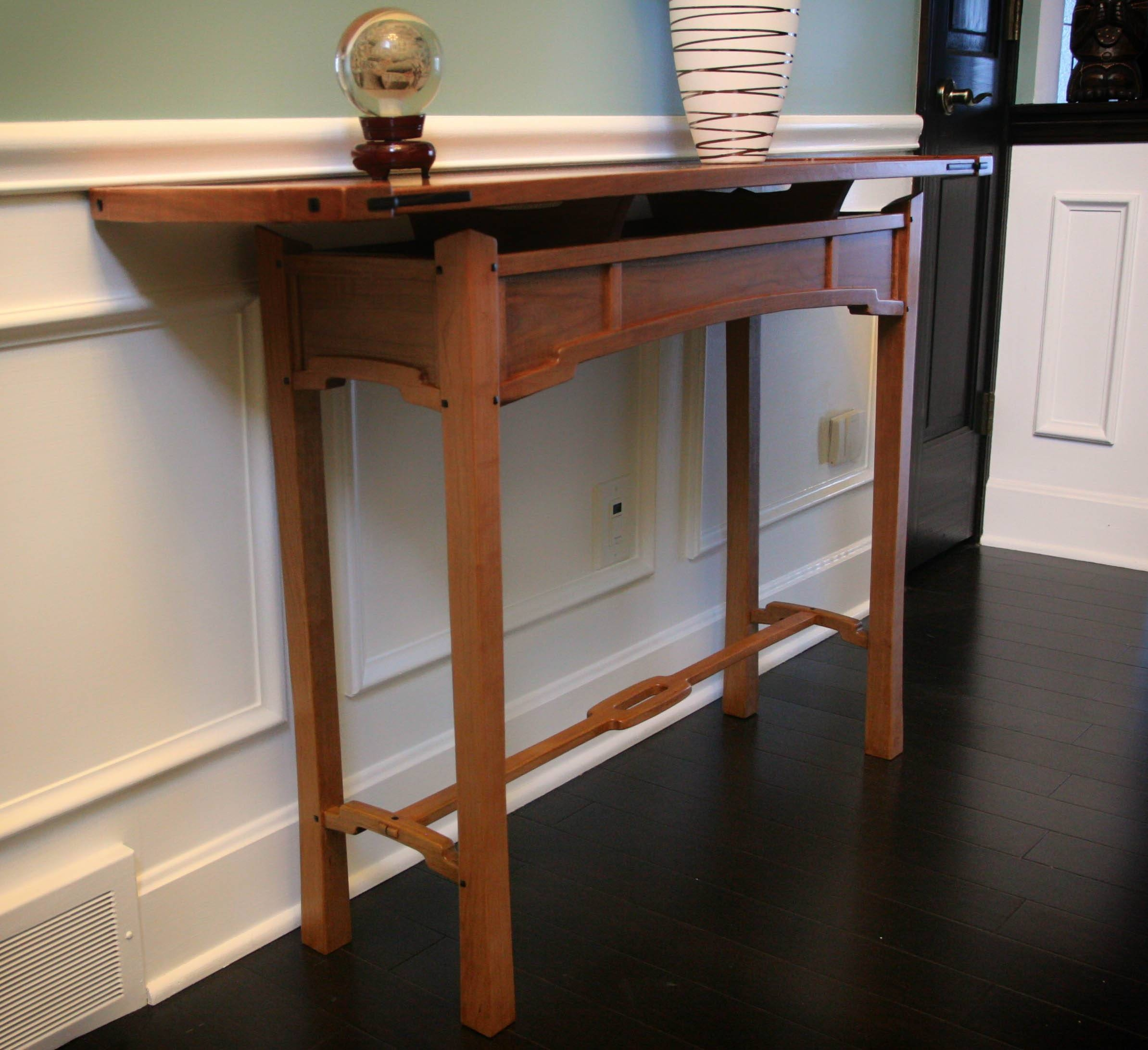Asian And Greene And Greene Inspired Hall Table | Digital Woodworker within Asian Sofa Tables (Image 1 of 15)