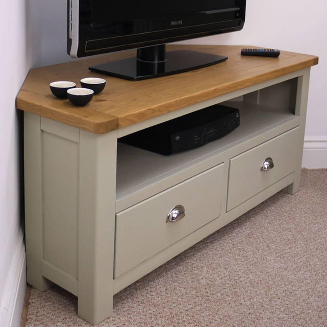 Aspen Oak Corner Tv Unit / Painted Tv Stand / Sage Grey With Oak with Grey Corner Tv Stands (Image 1 of 15)