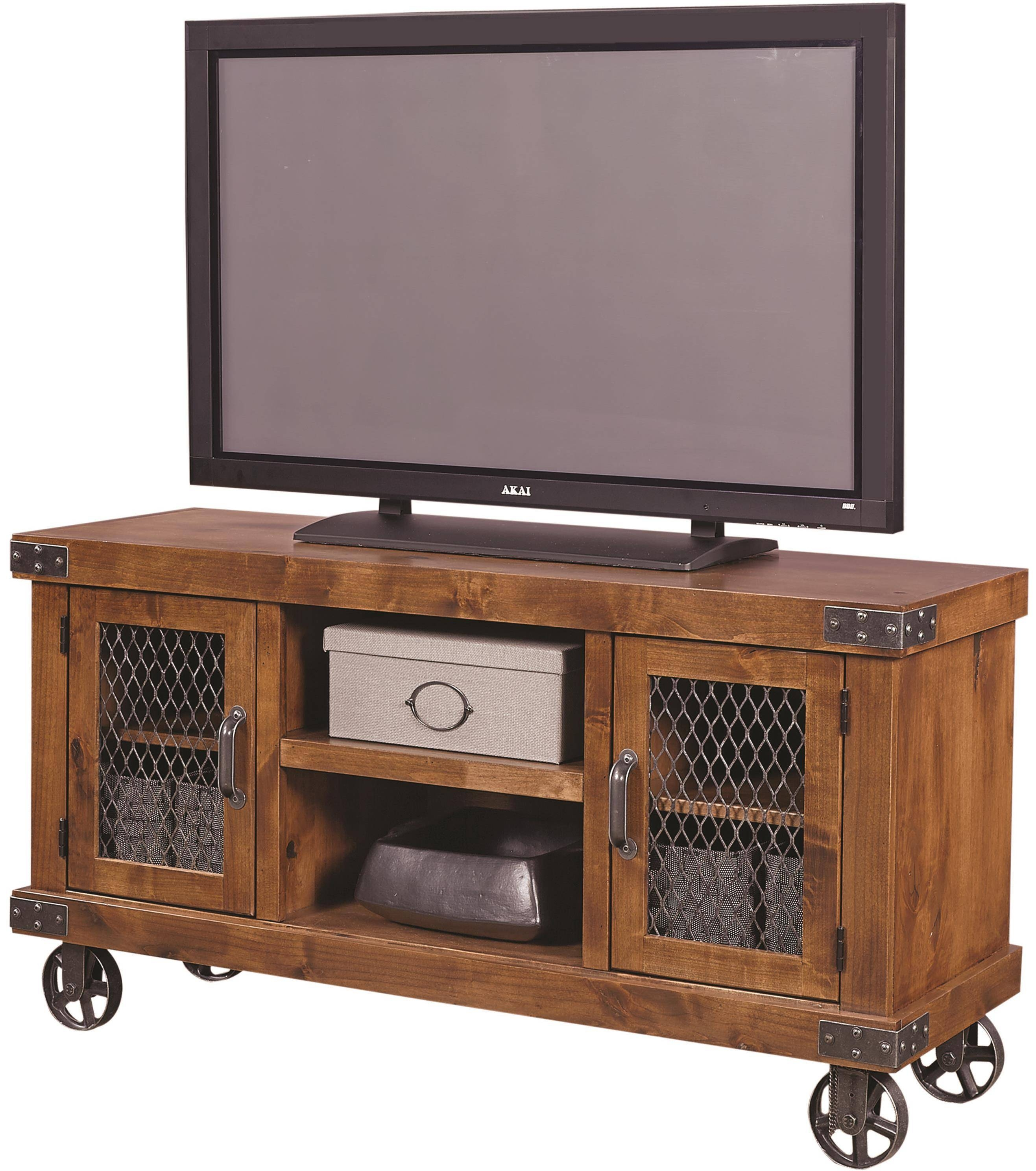 "Aspenhome Industrial 55"" Console With Metal Casters - Wayside with regard to Industrial Metal Tv Stands (Image 1 of 15)"