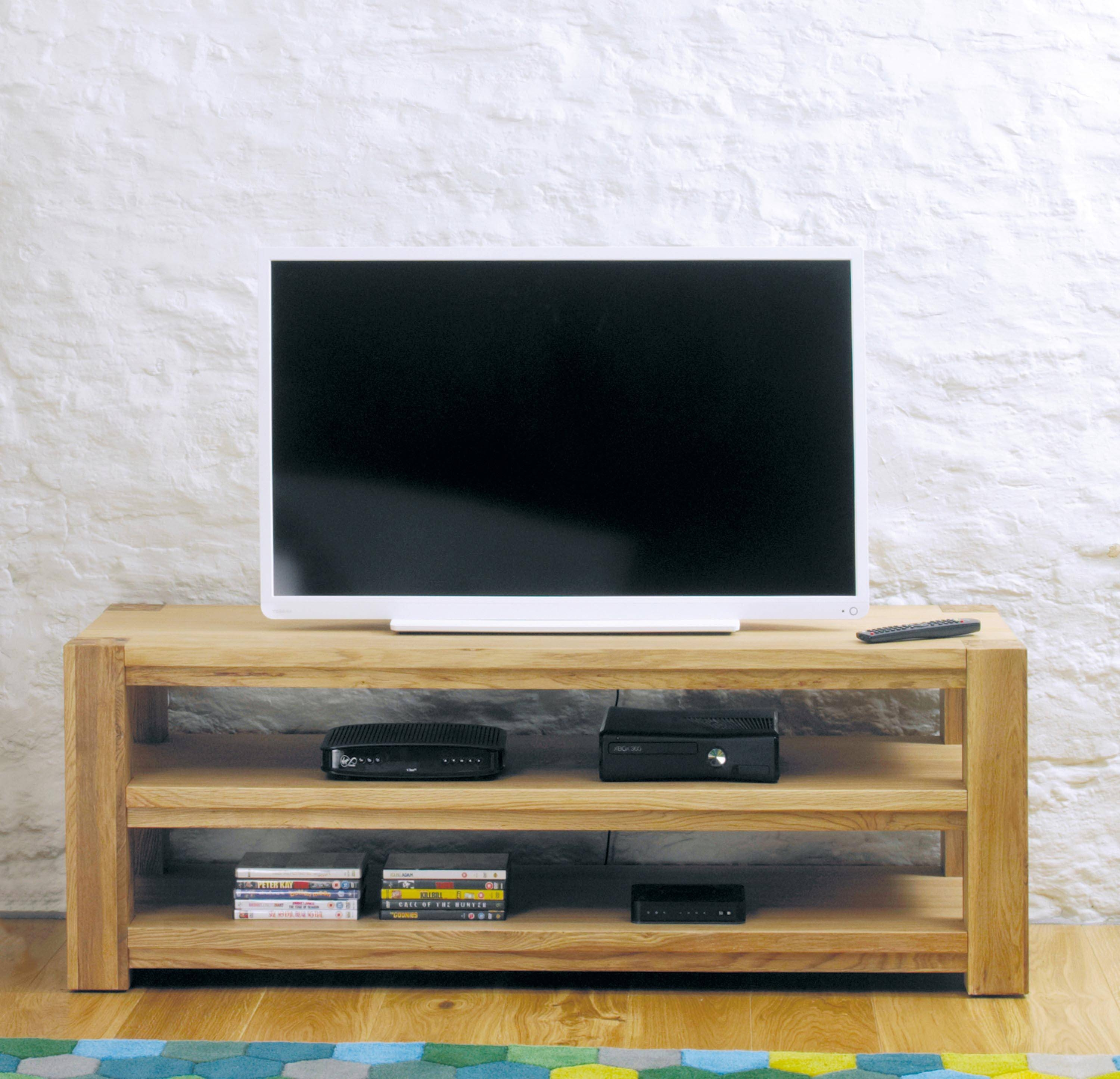 Aston Oak Widescreen Open Television Cabinet (Cvr09A) intended for Wide Screen Tv Stands (Image 3 of 15)