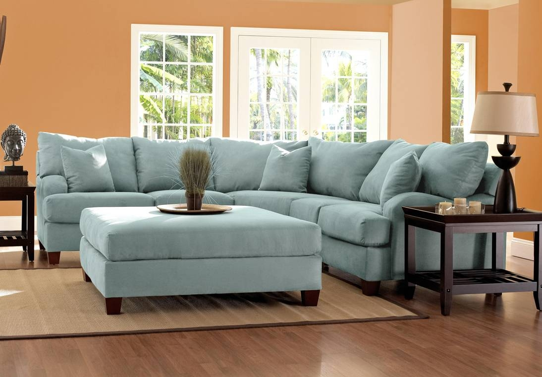Astounding Blue Microfiber Sectional Sofa 42 With Additional pertaining to Microfiber Sectional Sofas (Image 2 of 15)