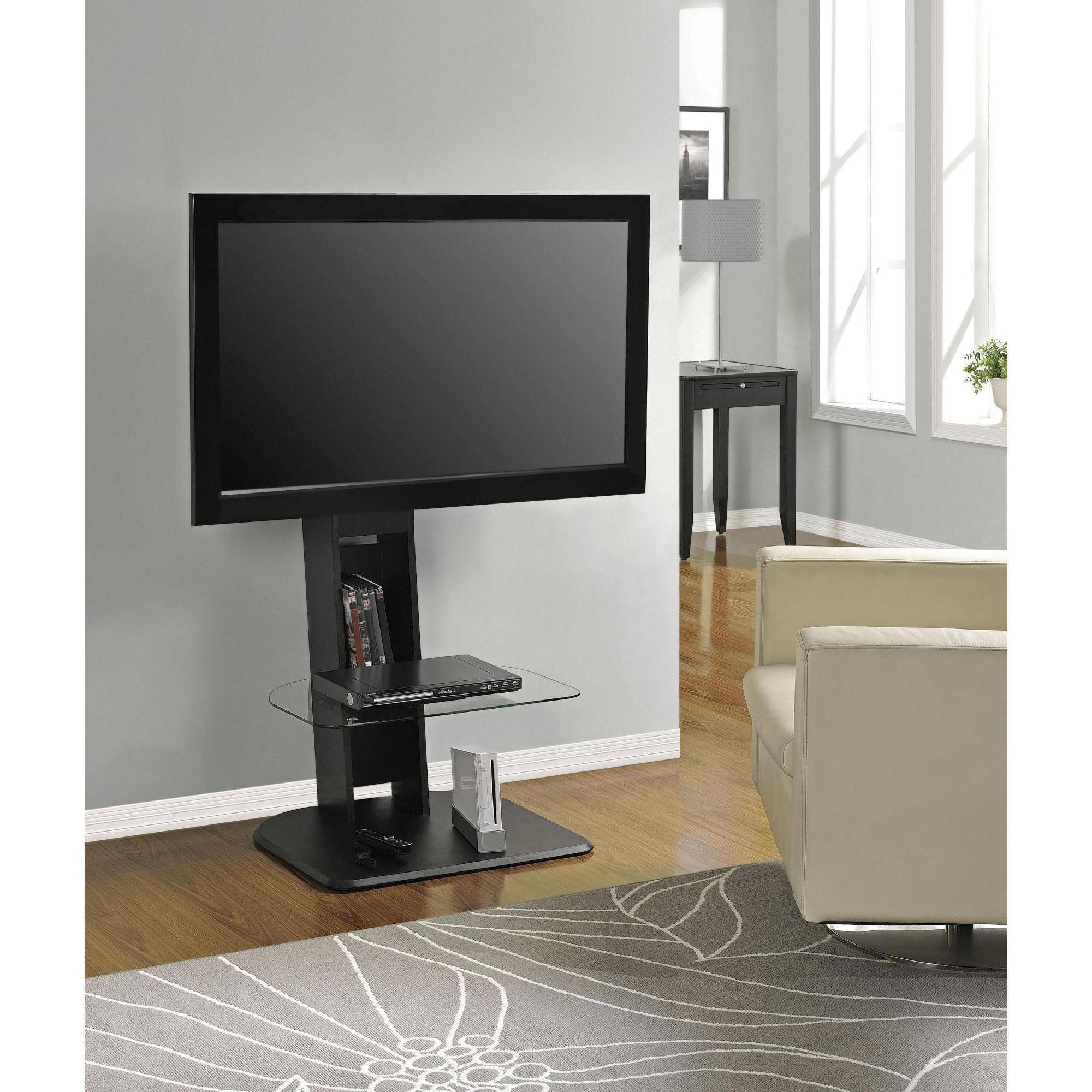 Atlantic Furniture Tabletop Tv Stand, Black - Walmart for 50 Inch Corner Tv Cabinets (Image 3 of 15)