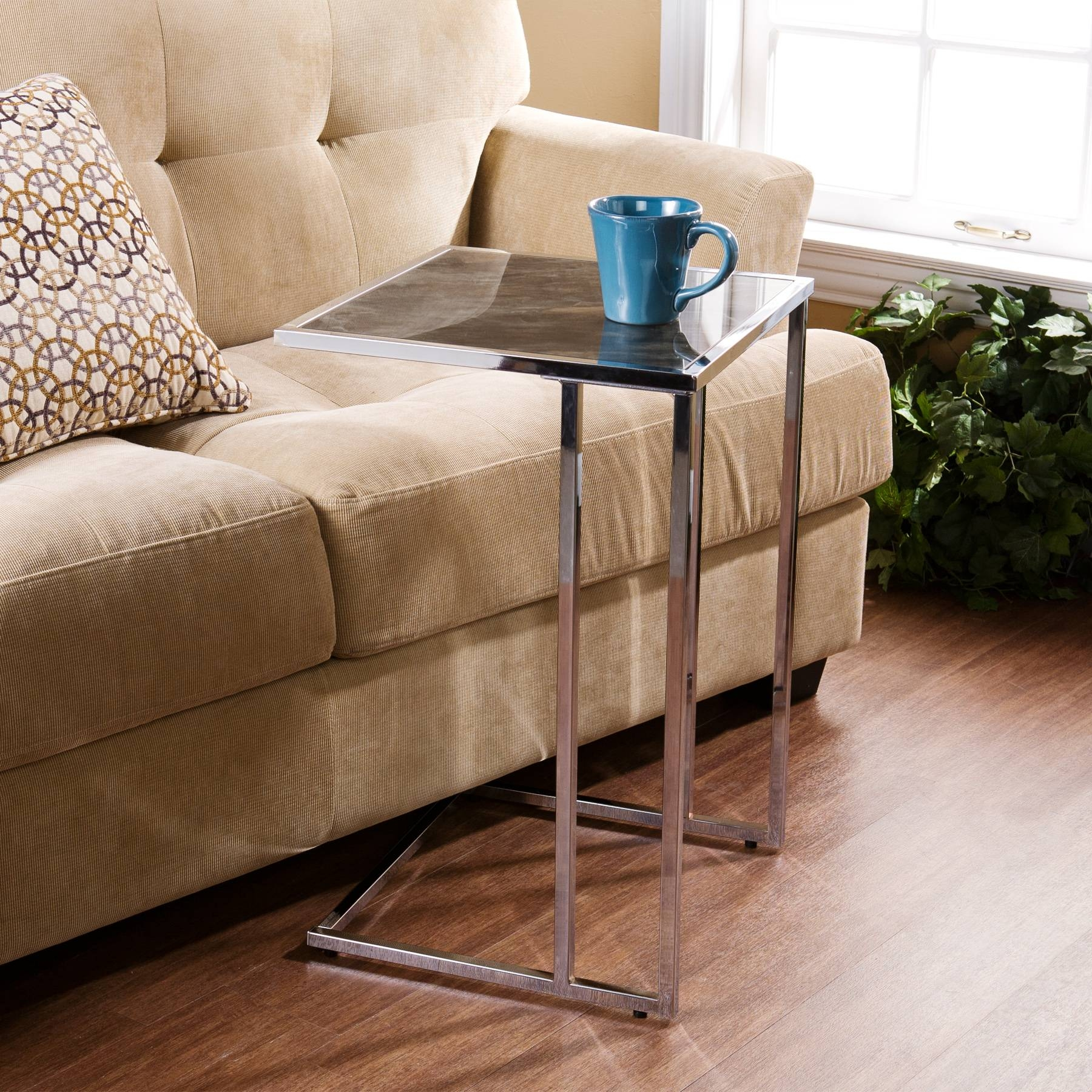 Attractive Snack Table With Slick Square Table Top Combined pertaining to Under Sofa Tray Tables (Image 1 of 15)