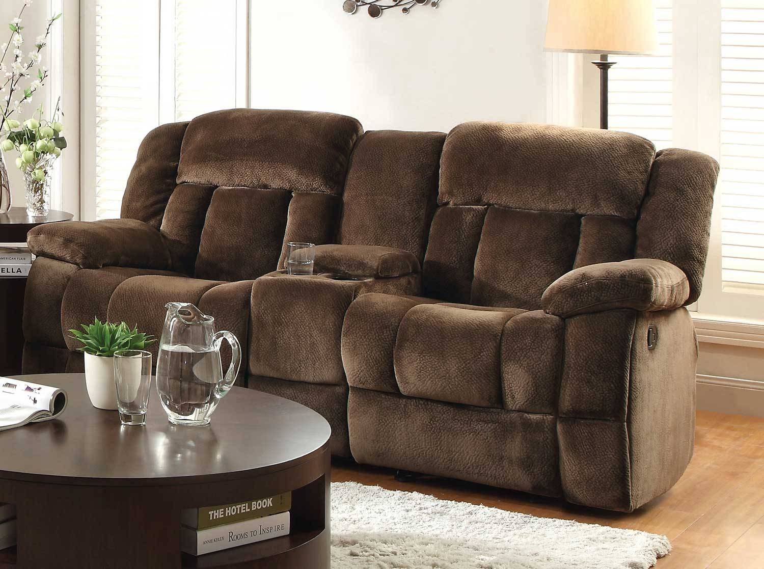 Awesome Double Recliner Sofa With Console 92 For Your Modern Sofa With Regard To Sofas With Console (View 1 of 15)