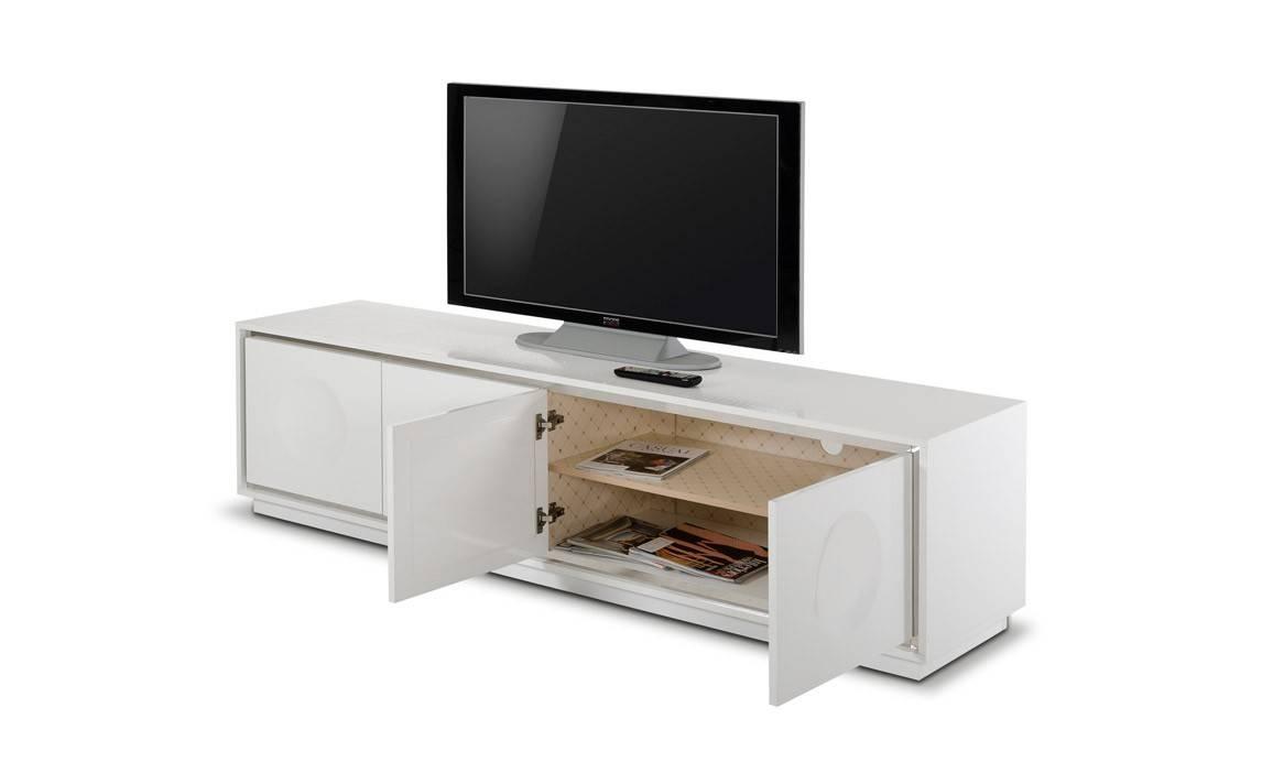 A&x Grand Modern White Crocodile Lacquer Tv Stand pertaining to Modern White Lacquer Tv Stands (Image 2 of 15)