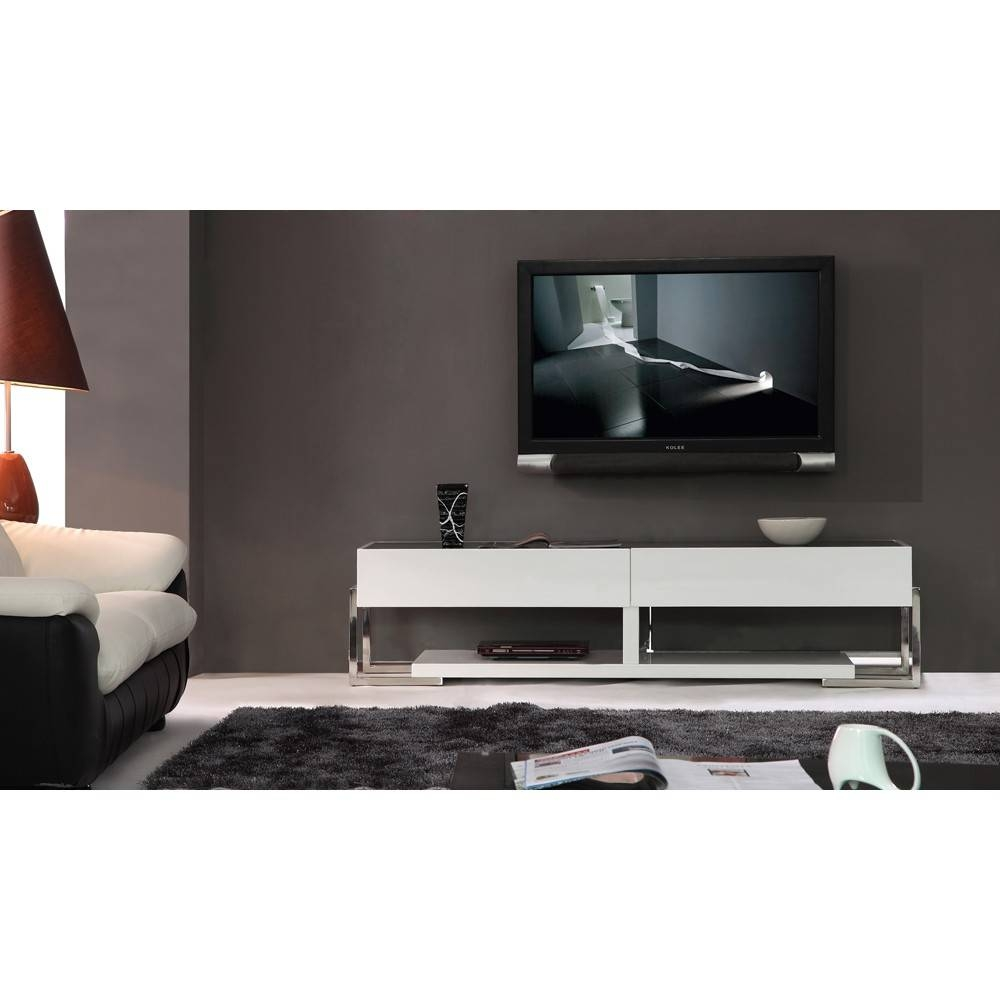 B-Modern Agent Tv Stand | White High-Gloss / Black Glass Top, B for Modern Glass Tv Stands (Image 1 of 15)