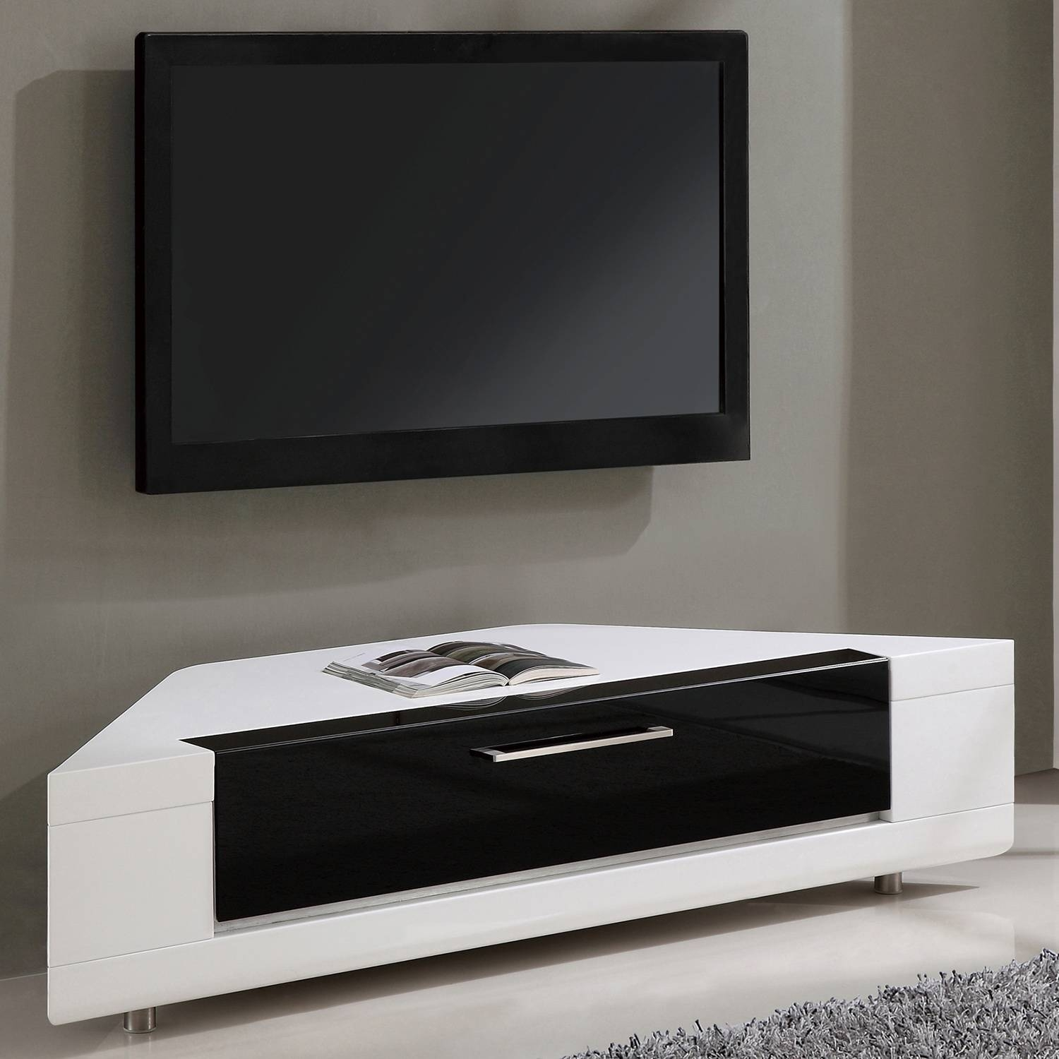 "B-Modern Bm-634-Wht Editor Remix 60"" Corner Tv Stand In White High with White High Gloss Corner Tv Unit (Image 1 of 15)"