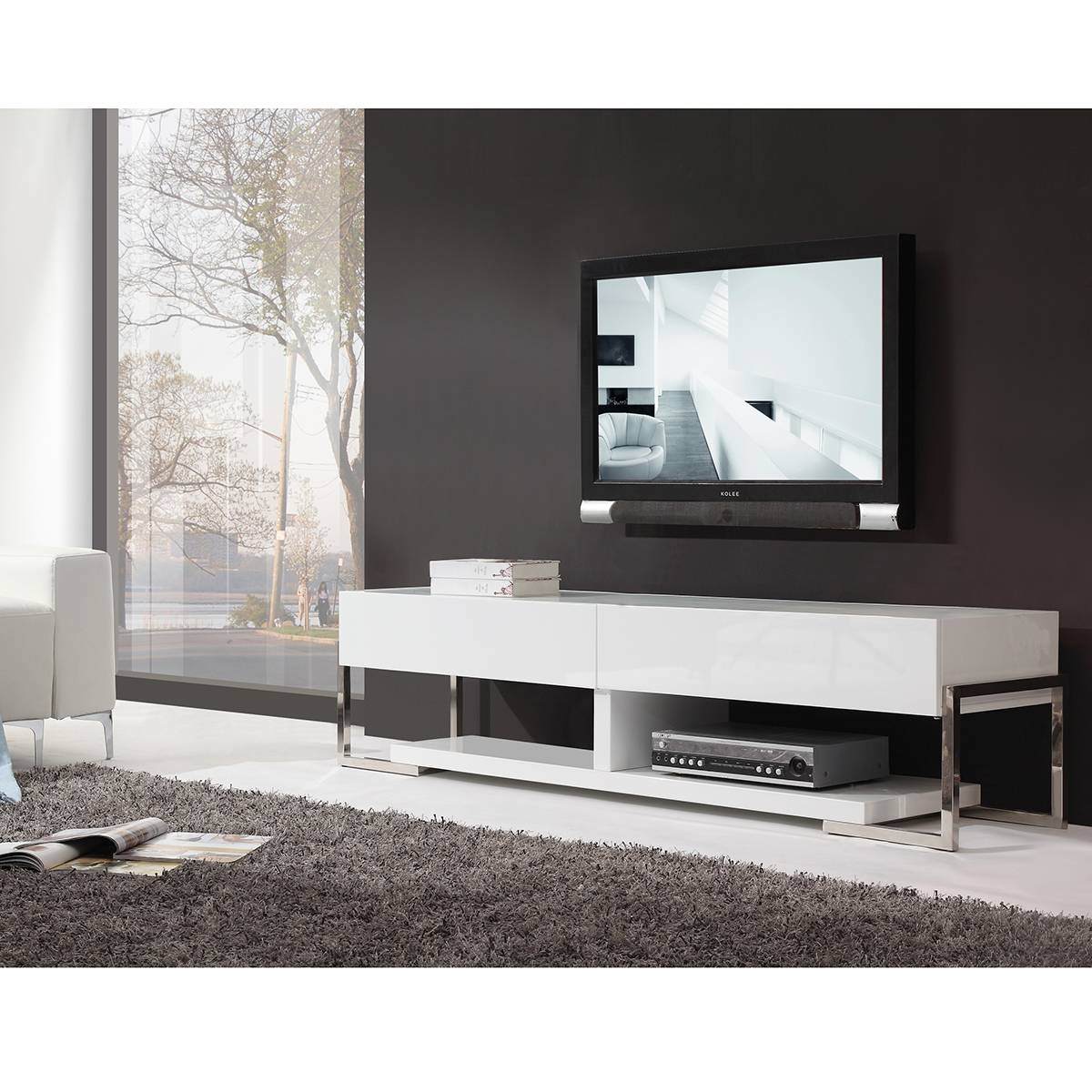 "B-Modern Bm-650-Awht Agent 71"" Contemporary Tv Stand In White with regard to Modern White Lacquer Tv Stands (Image 3 of 15)"