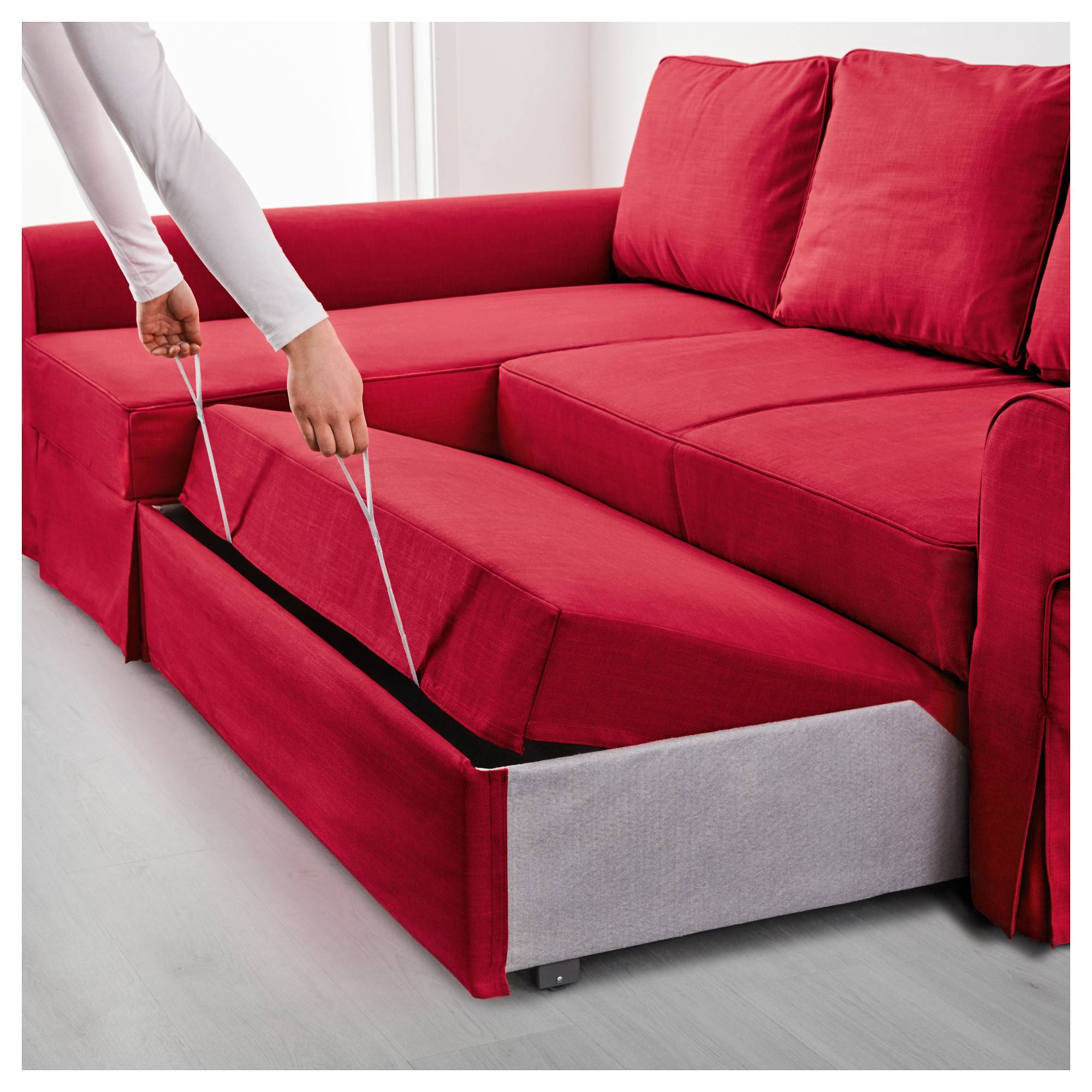 Backabro Sofa Bed With Chaise Longue Nordvalla Red - Ikea with regard to Chaise Longue Sofa Beds (Image 2 of 15)