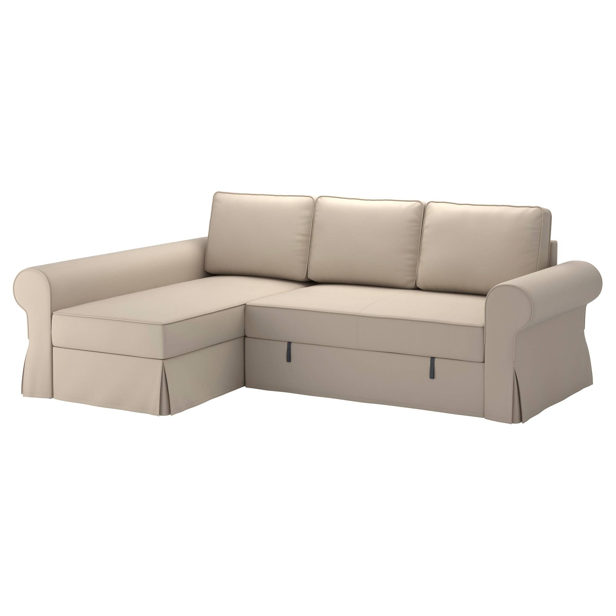 Backabro Sofa Bed With Chaise Longue Ramna Beige - Ikea in Chaise Longue Sofa Beds (Image 3 of 15)