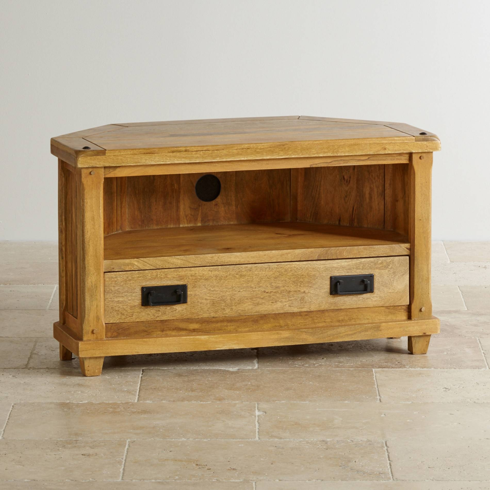 Baku Light Corner Tv Cabinet In Natural Solid Mango for Light Oak Tv Cabinets (Image 1 of 15)