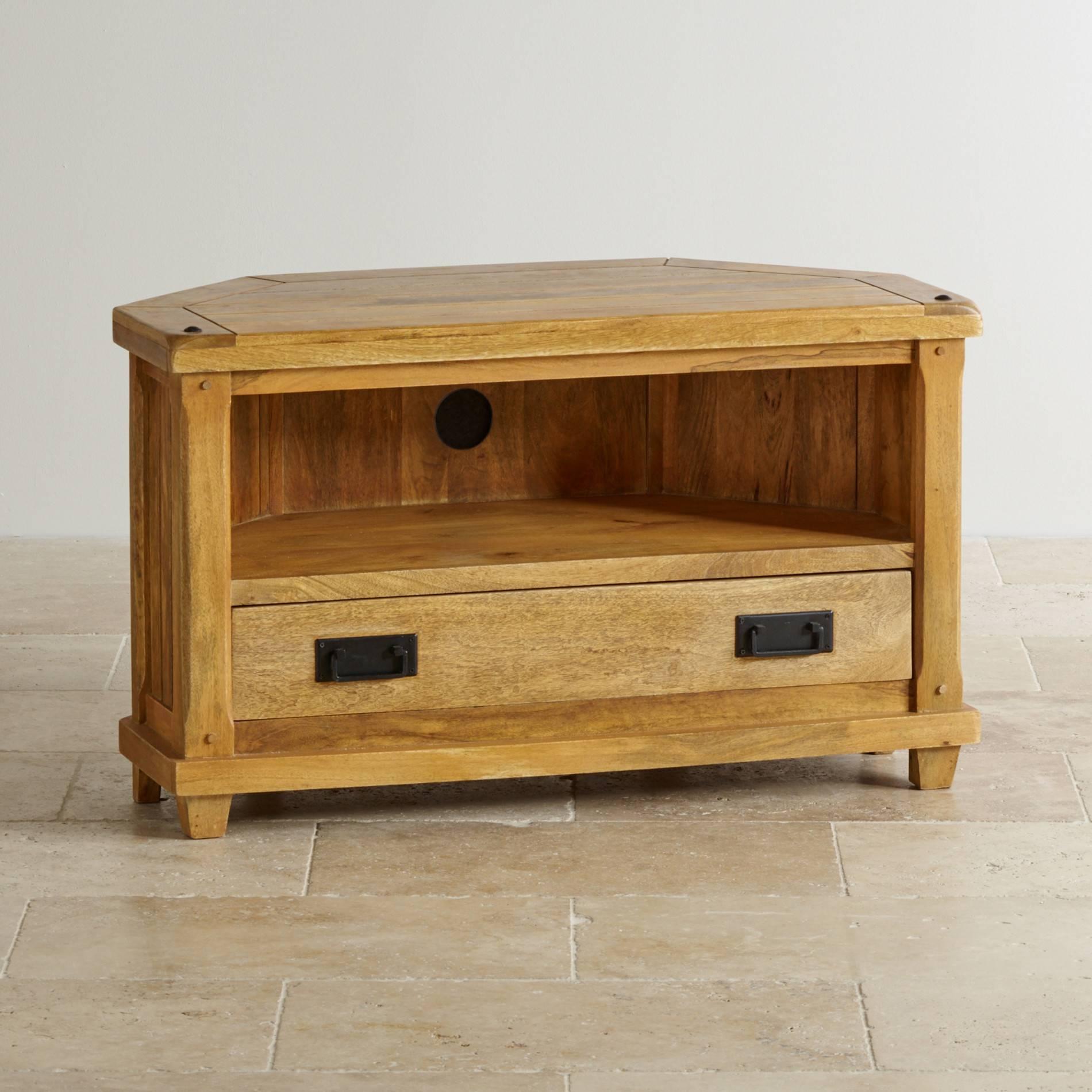 Baku Light Corner Tv Cabinet In Natural Solid Mango in Corner Tv Cabinets (Image 1 of 15)