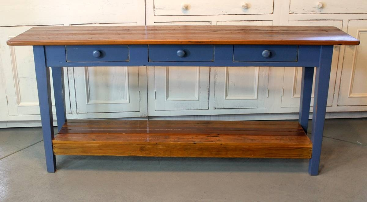 Barn Wood Console Table With Slatted Shelf - Ecustomfinishes in Barnwood Sofa Tables (Image 3 of 15)