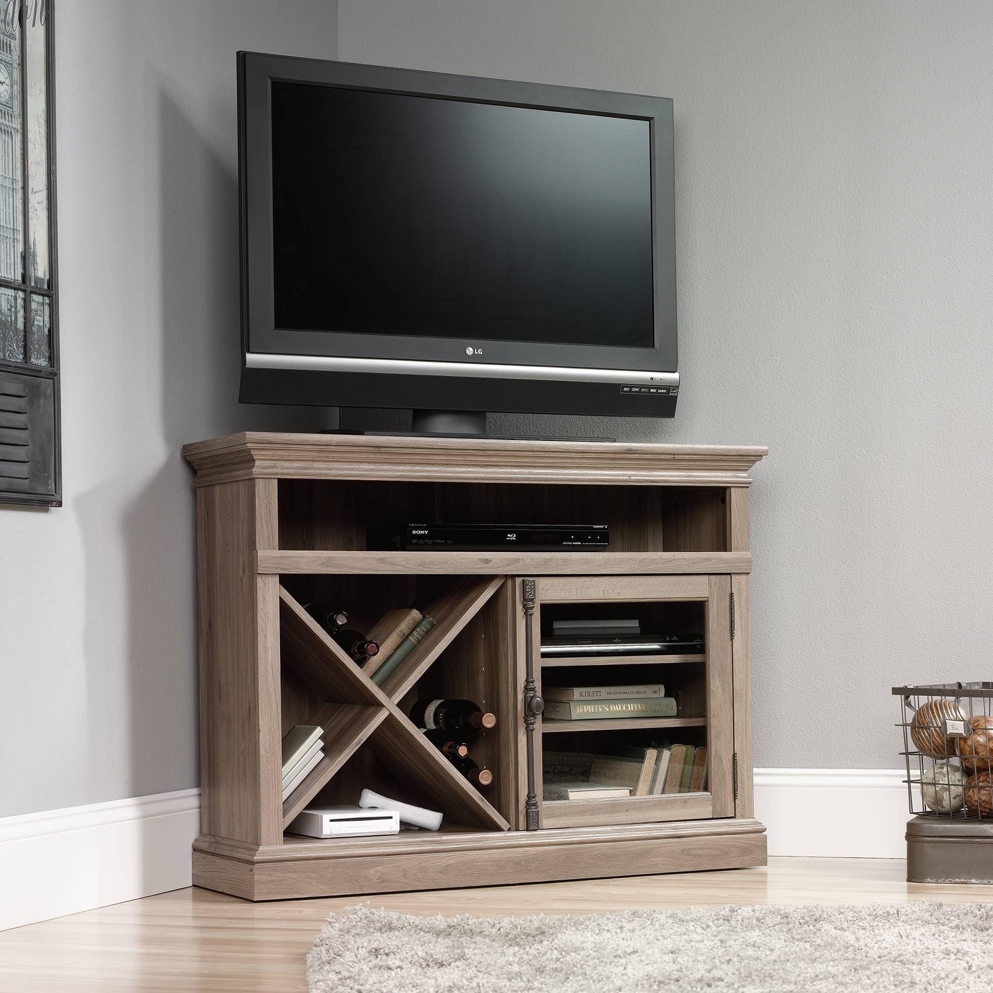Barrister Lane | Corner Tv Stand | 414729 | Sauder within Grey Corner Tv Stands (Image 2 of 15)