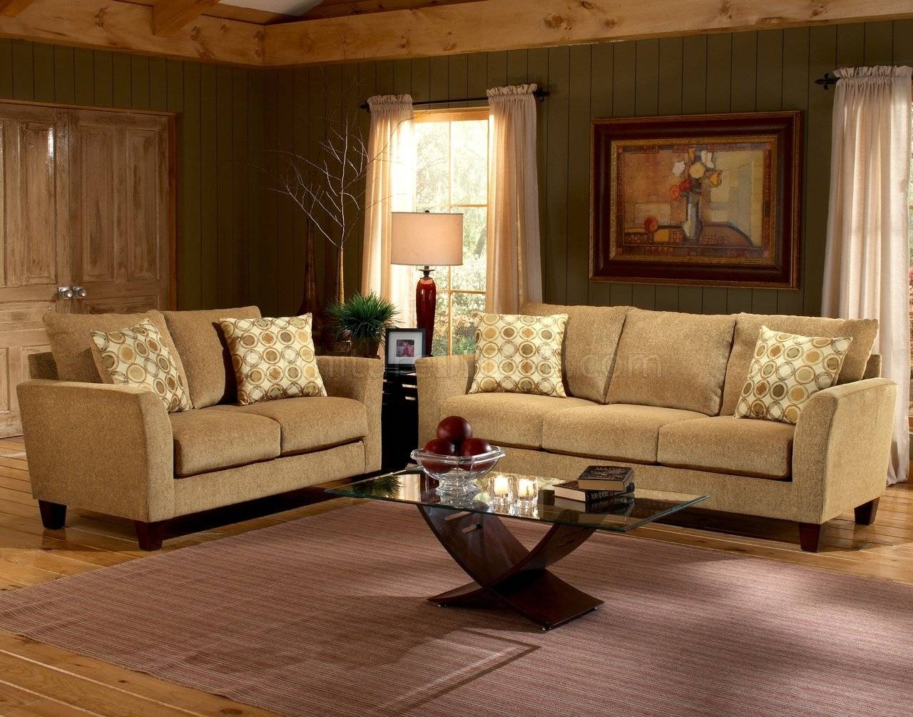 Barton Camel Fabric Casual Living Room Sofa & Loveseat Set for Camel Color Sofas (Image 2 of 15)