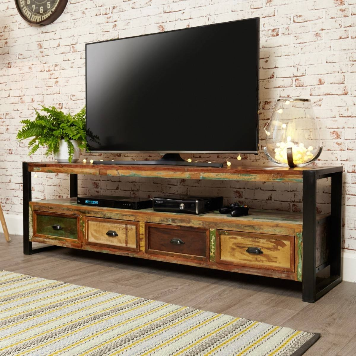 Baumhaus Urban Chic Open Widescreen Tv Cabinet Irf09C within Wide Screen Tv Stands (Image 4 of 15)