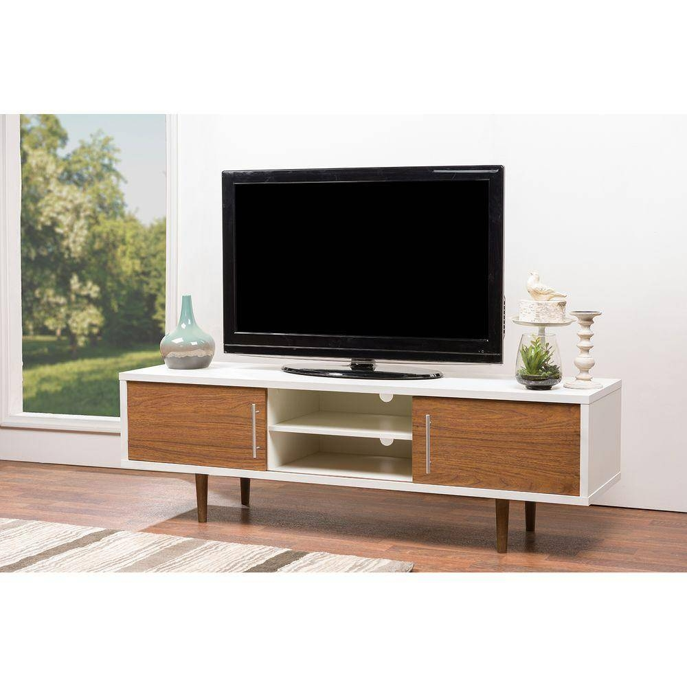 Baxton Studio Adal Walnut And White Storage Entertainment Center Inside Dark Walnut Tv Stands (View 12 of 15)