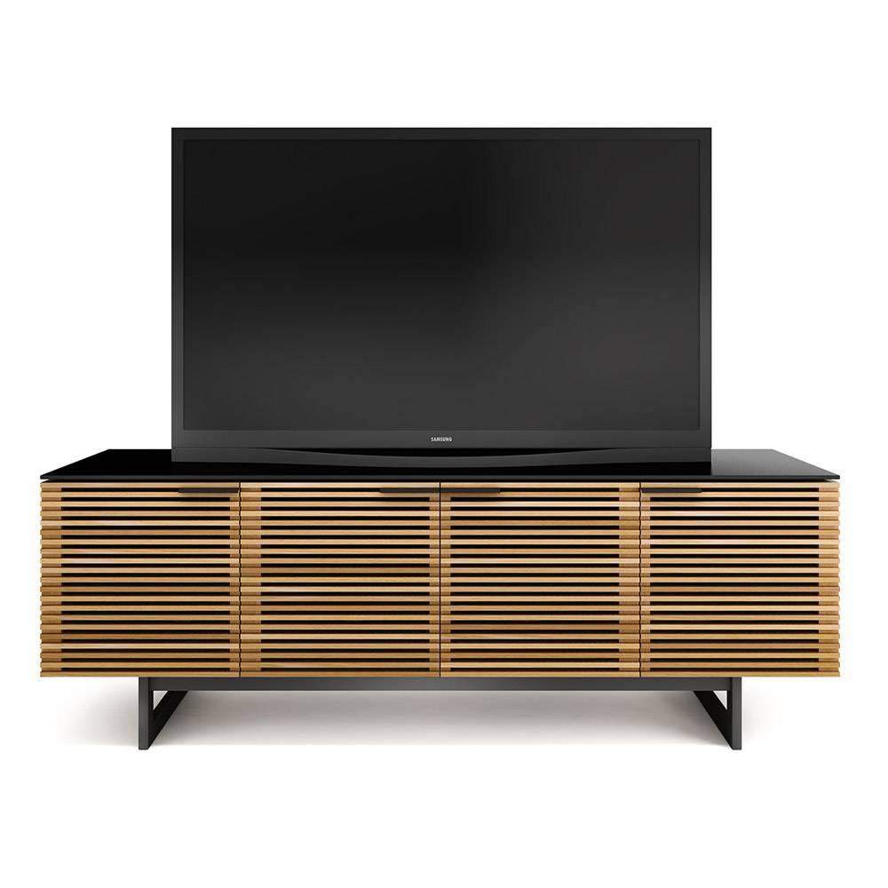 Bdi Corridor 8179 White Oak Louvred Tv Cabinet – Bdi – Audiovisual For Large Oak Tv Stands (View 13 of 15)