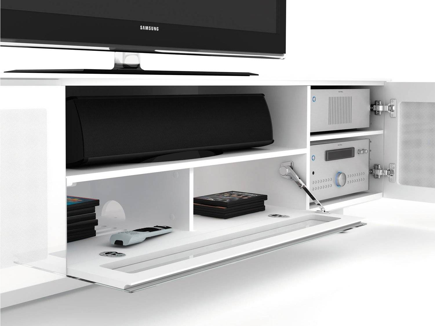 Bdi Nora 8239 W Tv Stands inside White Gloss Tv Cabinets (Image 1 of 15)