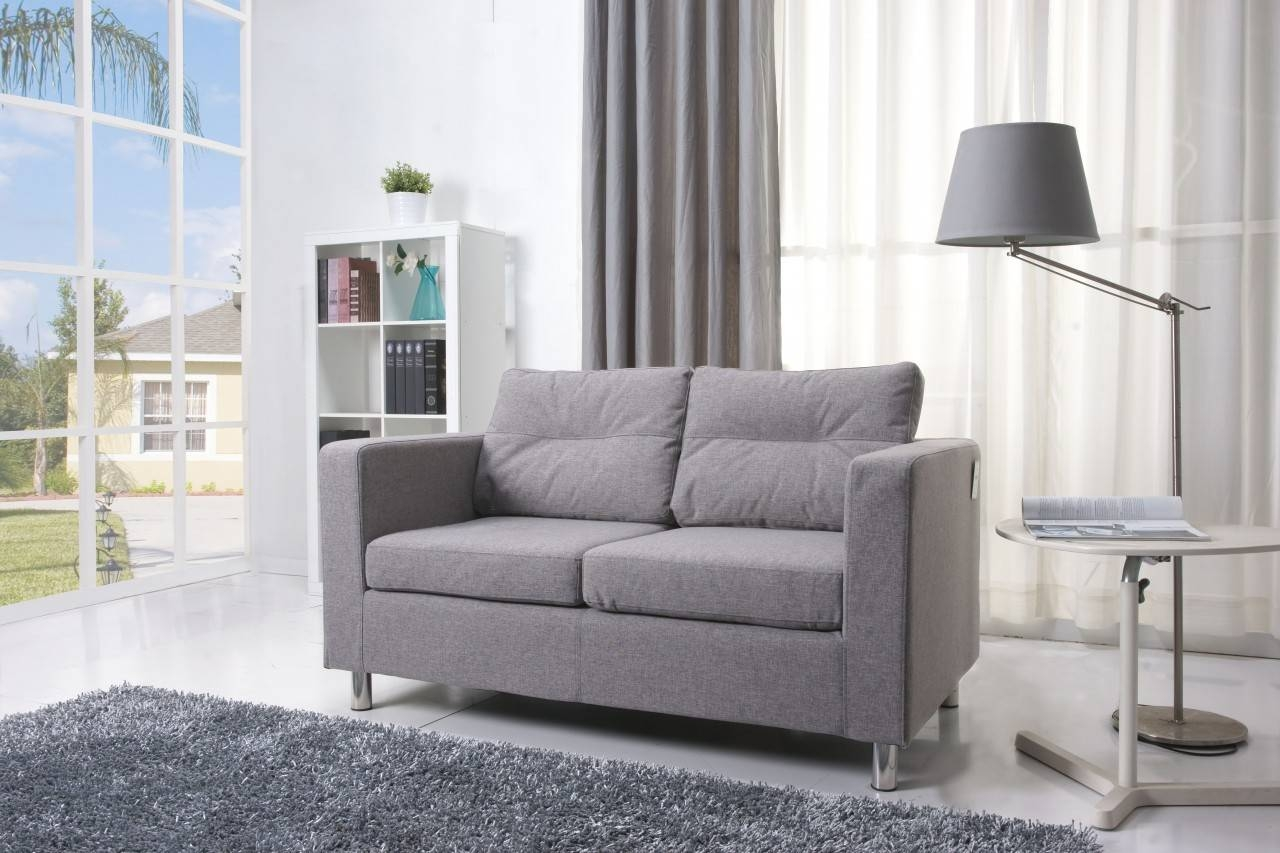 Beatiful Small Living Space Grey Sofas Grey Rug Stand Lamp - Home with regard to Small Grey Sofas (Image 2 of 15)