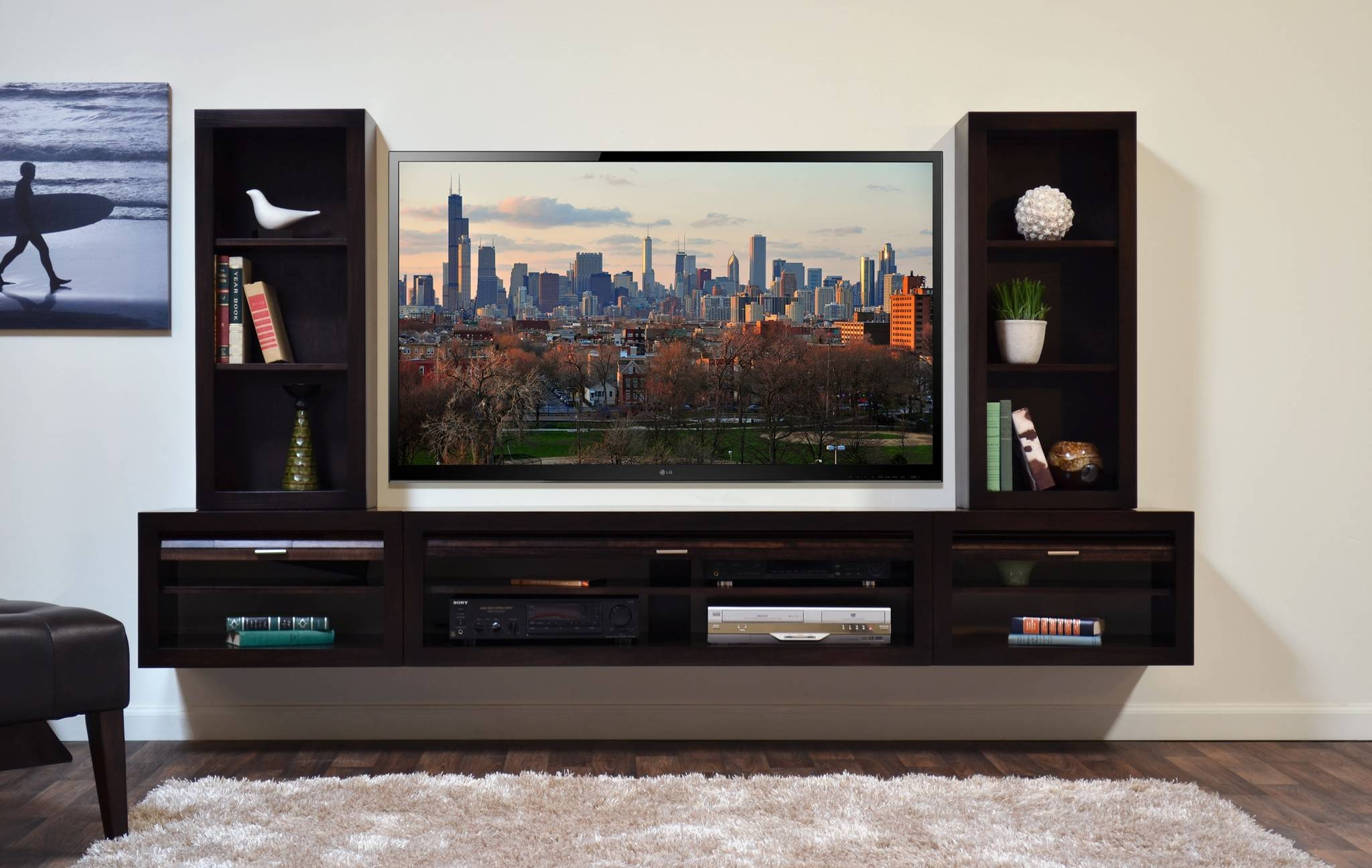 Beauteous Tv Stand With Floating Shape Concept Combined White Intended For Open Shelf Tv Stands (View 10 of 15)