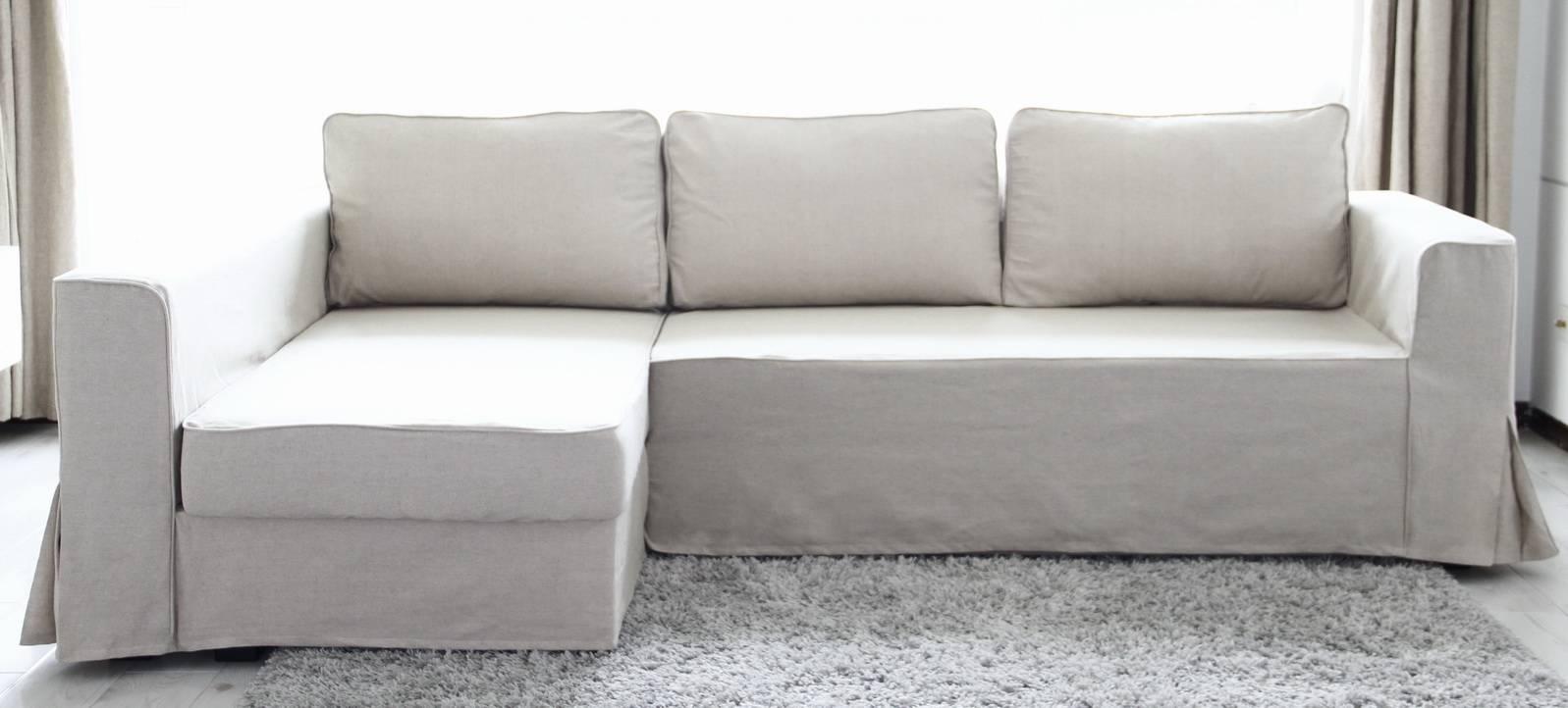 Beautify Your Ikea Sofa With Custom Long Skirt Slipcovers with regard to Sleeper Sofa Slipcovers (Image 1 of 15)