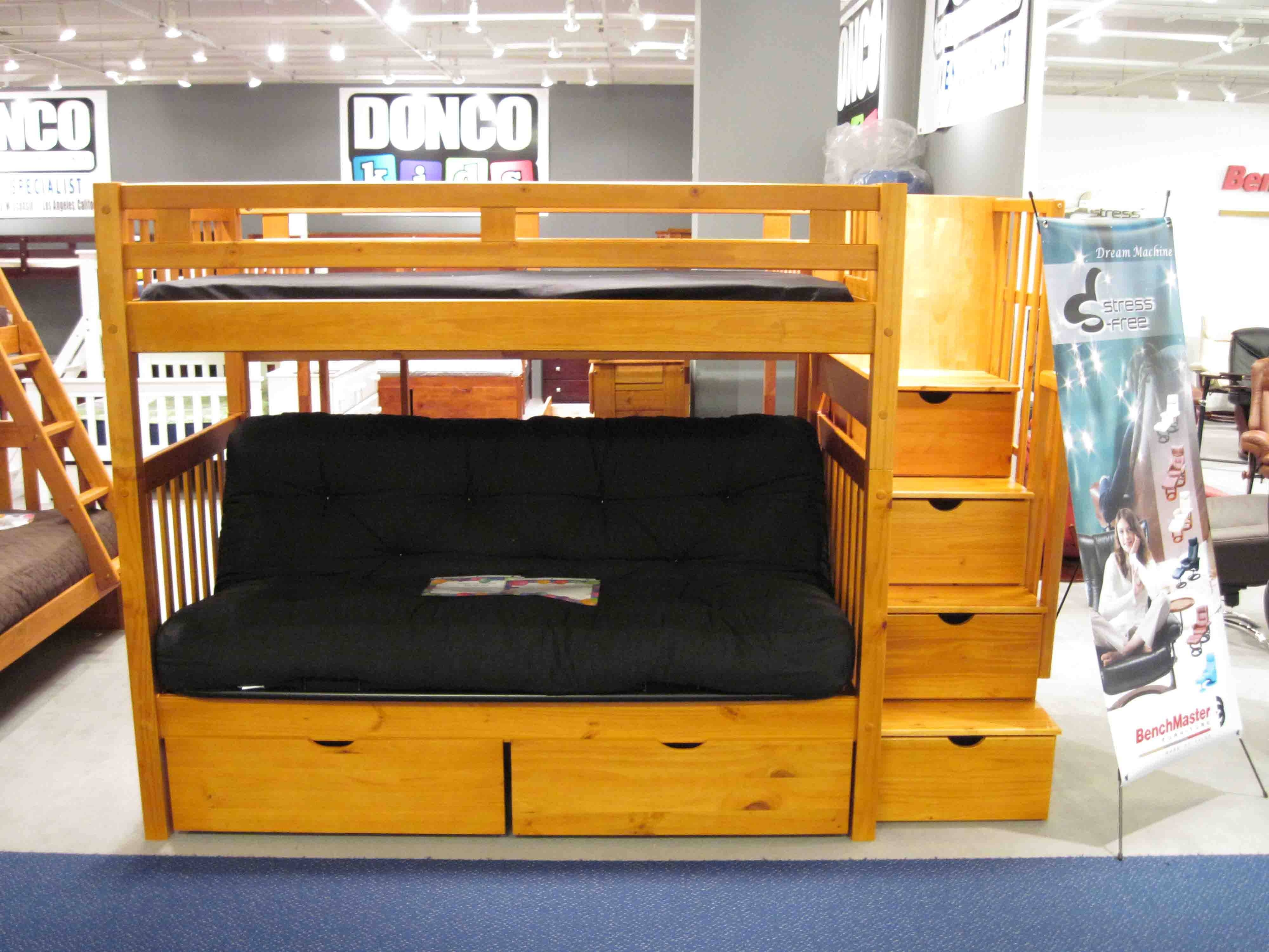 Bedroom: Futon Bunk Bed | Loft Bed With Futon throughout Bunk Bed With Sofas Underneath (Image 4 of 15)