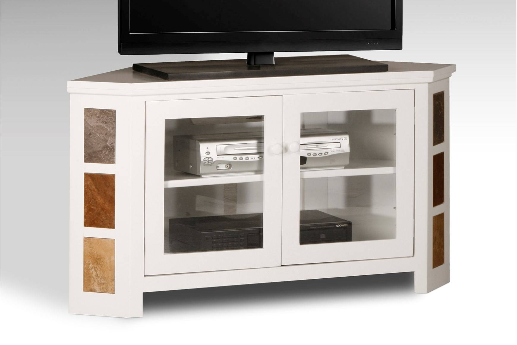 Bedroom. Modern White Laminated Wooden Tv Stand Furnished With within Corner Tv Cabinets With Glass Doors (Image 1 of 15)