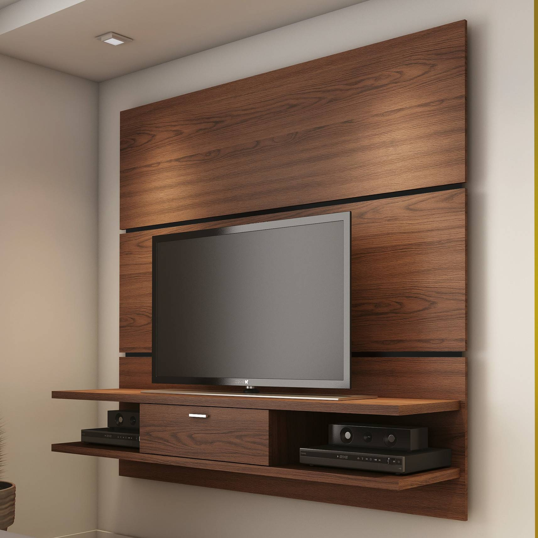 Bedroom Wall Tv Stand Cabinet With Recessed Lighting Idea For ~ Arafen within Modern Wall Mount Tv Stands (Image 3 of 15)