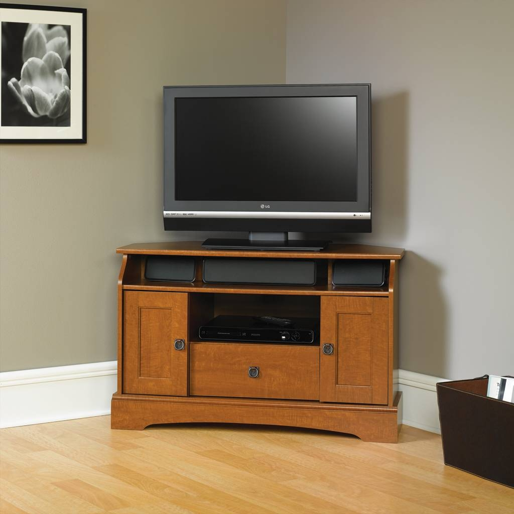 Bedroom. Wood And Glass Corner Tv Stand Furnished With Three Tiers intended for Corner Tv Cabinets for Flat Screens With Doors (Image 2 of 15)