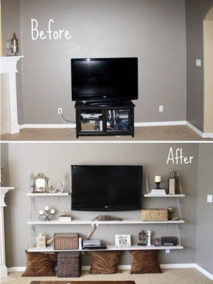 Before And After Diy Cool Remodel Tv Stands With Floating Wood Within Cool Tv Stands (View 5 of 15)