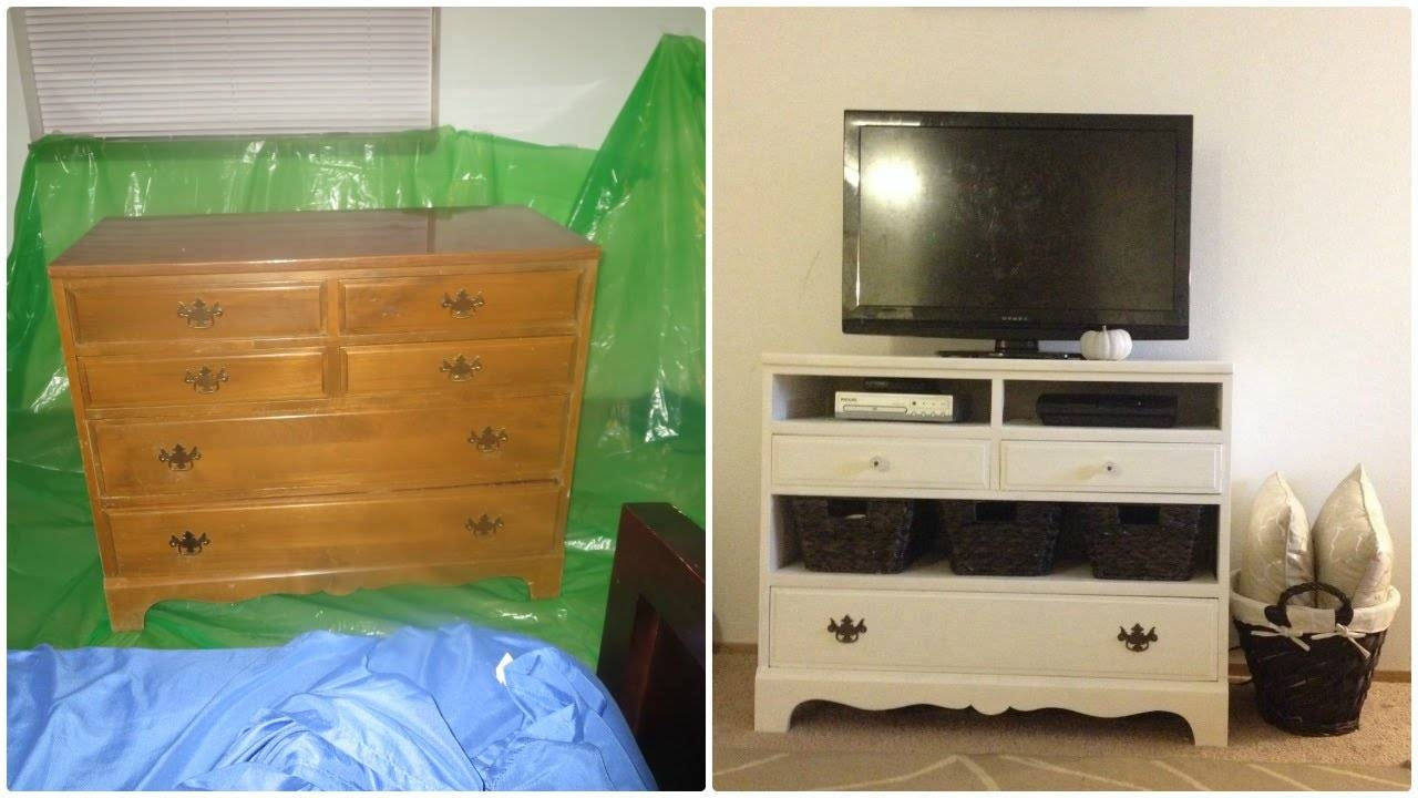 Before And After Dresser Makeover Design Turned Into Tv Stand With With Regard To Tv Stands With Storage Baskets (View 10 of 15)