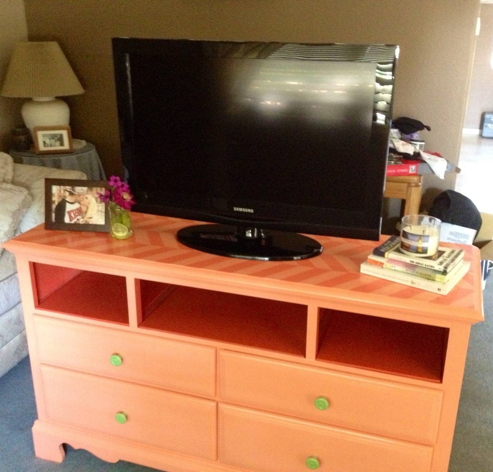 Before And After | Dresser Turned Tv-Stand | Courtney's Craftin&cookin throughout Orange Tv Stands (Image 2 of 15)