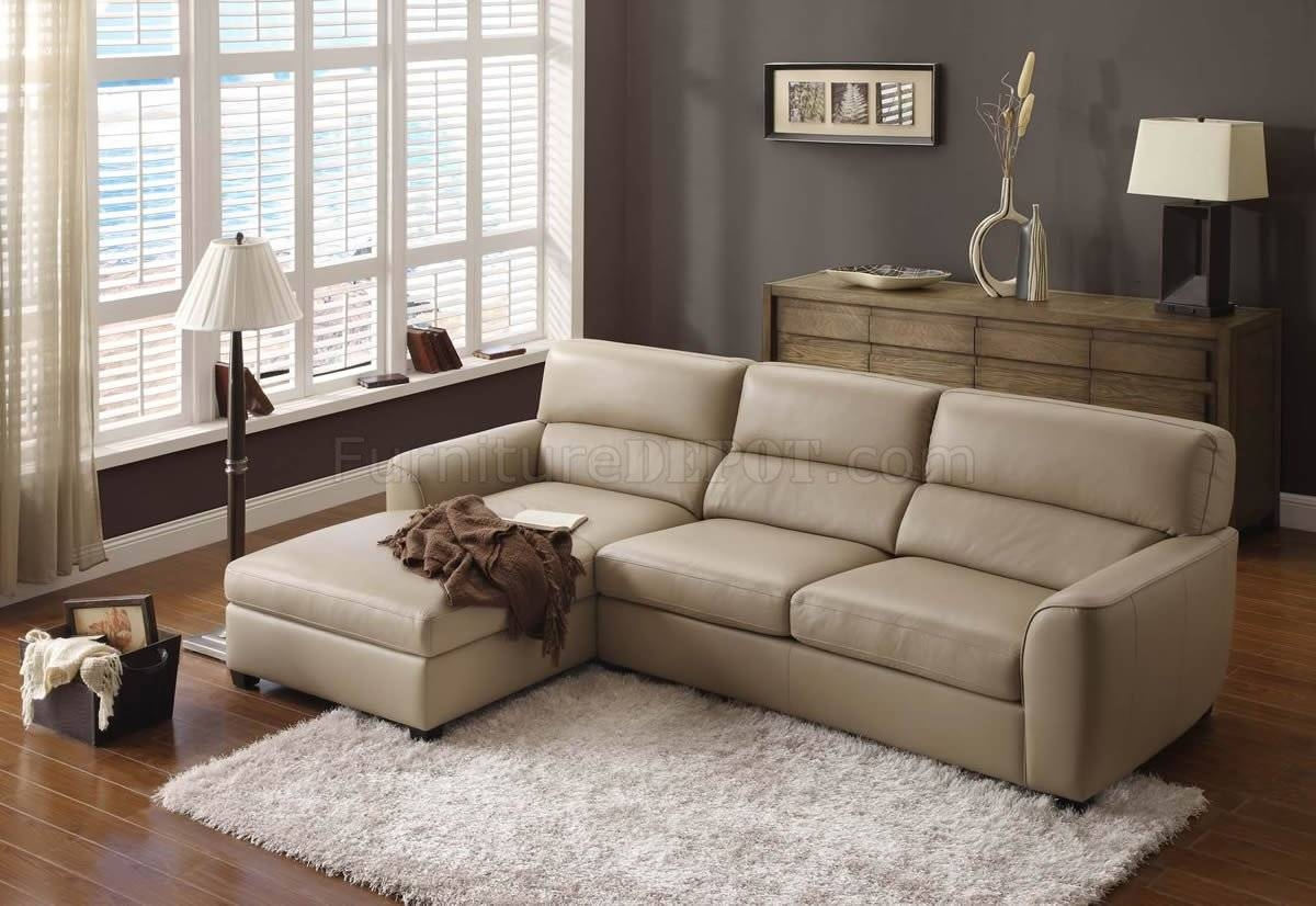 Beige Leather Elegant Modern Sectional Sofa Inside Beige Sofas (Photo 9 of 15)