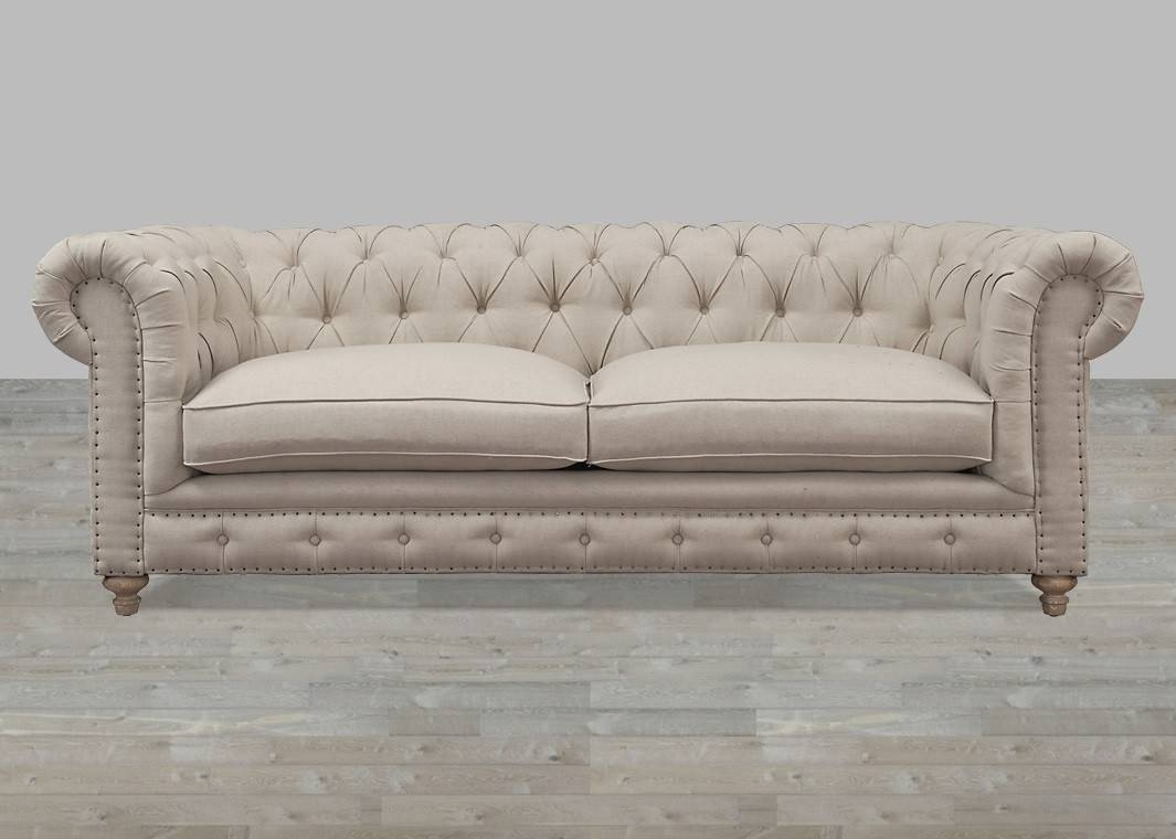 Beige Linen Button Tufted Sofa with regard to Brown Tufted Sofas (Image 2 of 15)