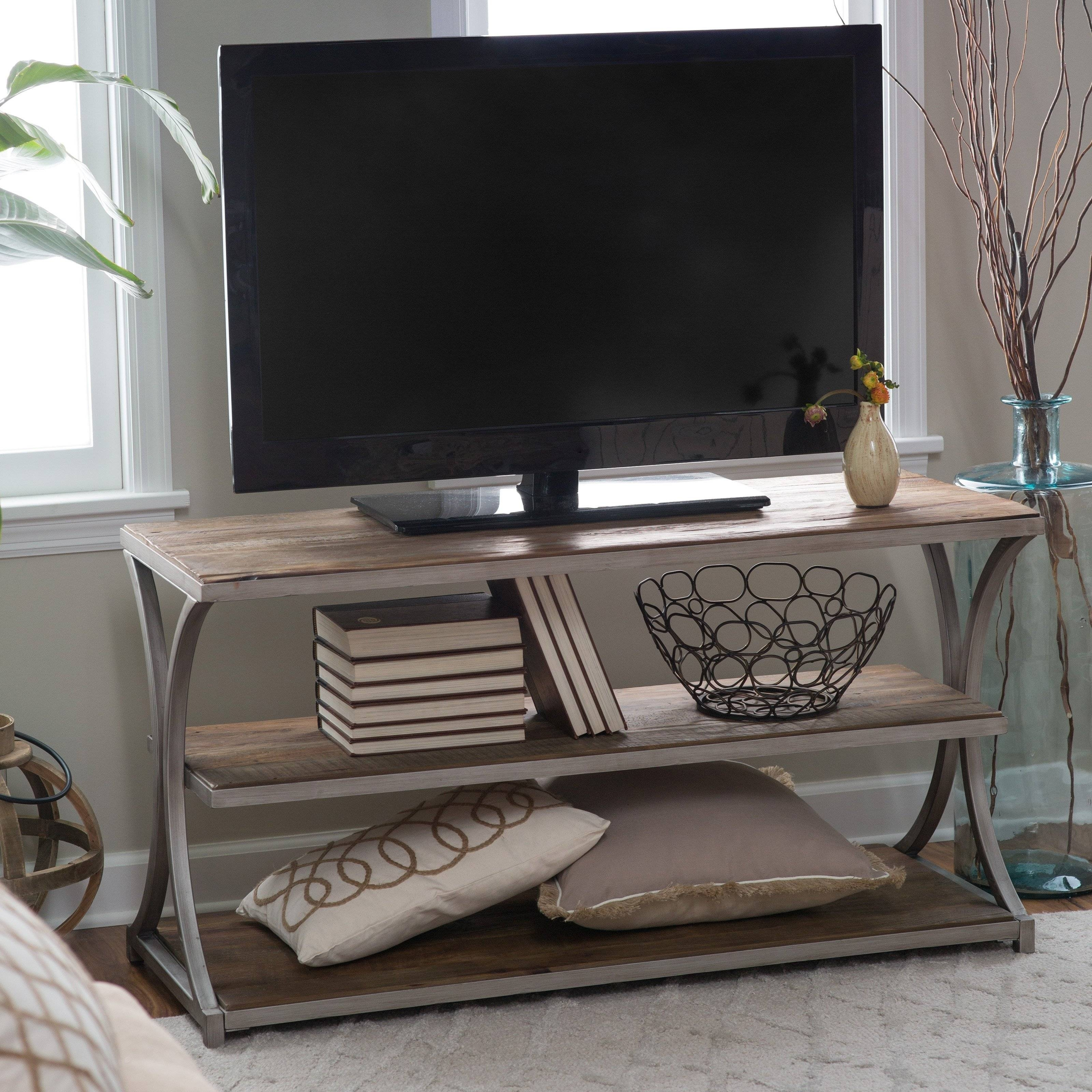 Belham Living Edison Reclaimed Wood Tv Stand | Hayneedle pertaining to Reclaimed Wood and Metal Tv Stands (Image 2 of 15)