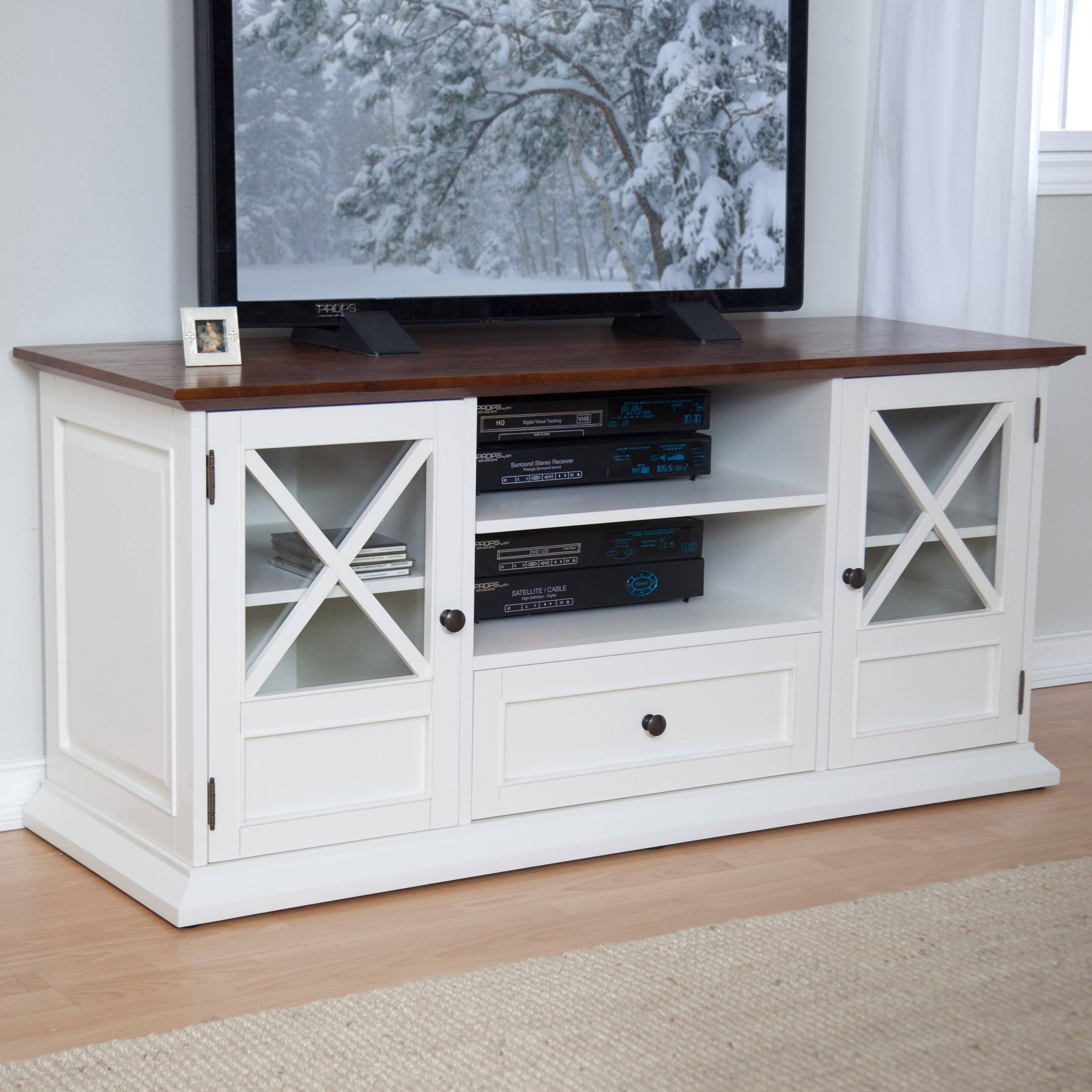 Belham Living Hampton Tv Stand – White/oak | Hayneedle In Wooden Tv Stands For 55 Inch Flat Screen (View 10 of 15)