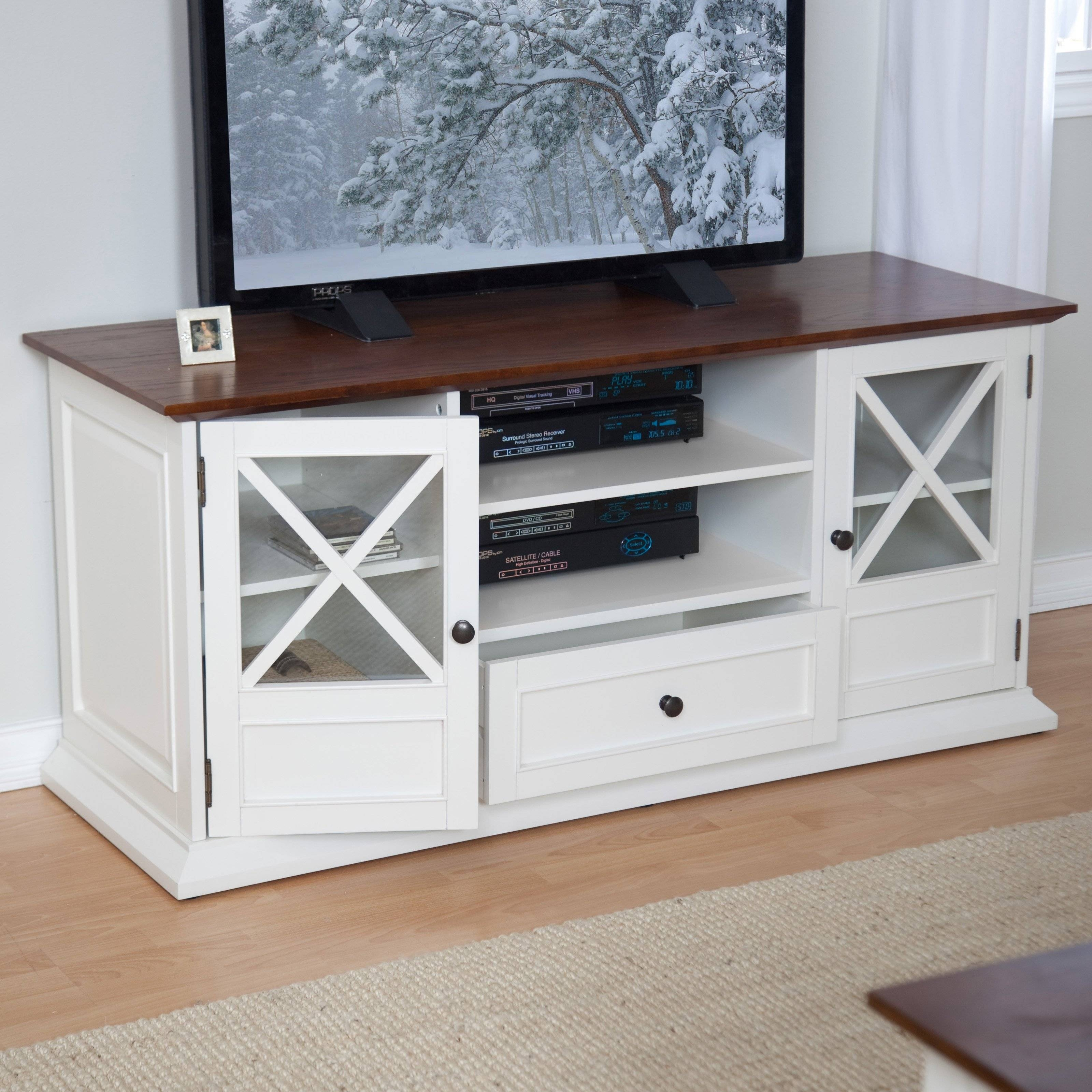 Belham Living Hampton Tv Stand - White/oak | Hayneedle within Long White Tv Stands (Image 3 of 15)