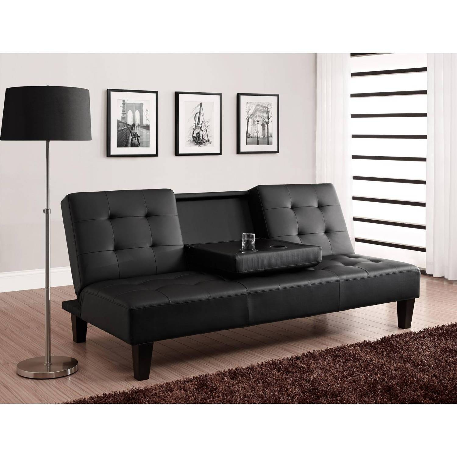 Belle Faux Leather Convertible Futon Sofa Bed White with Convertible Futon Sofa Beds (Image 4 of 15)
