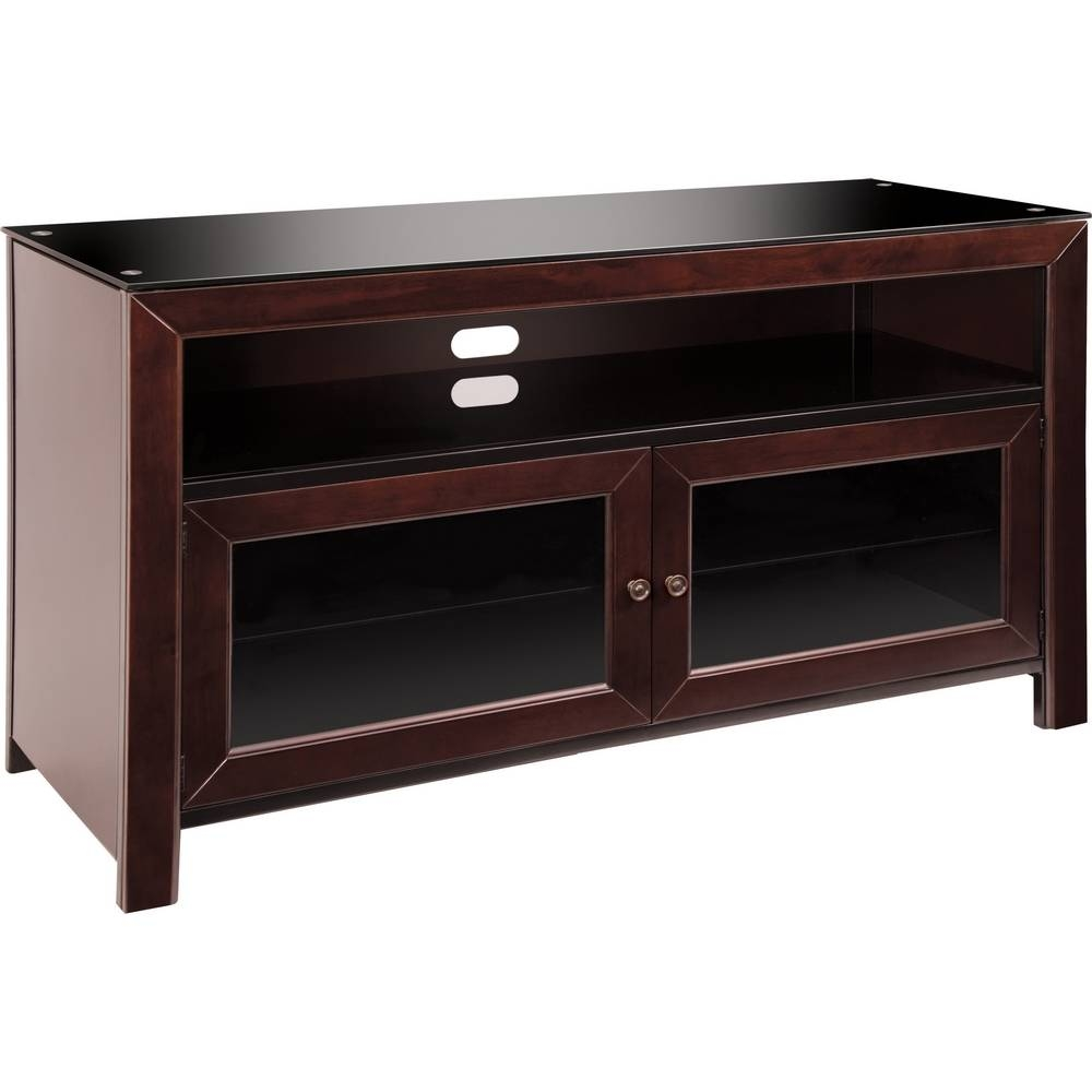 "Bello Wmfc503 50"" Wood Tv Stand A/v Cabinet In Deep Mahogany in Mahogany Tv Stands (Image 3 of 15)"