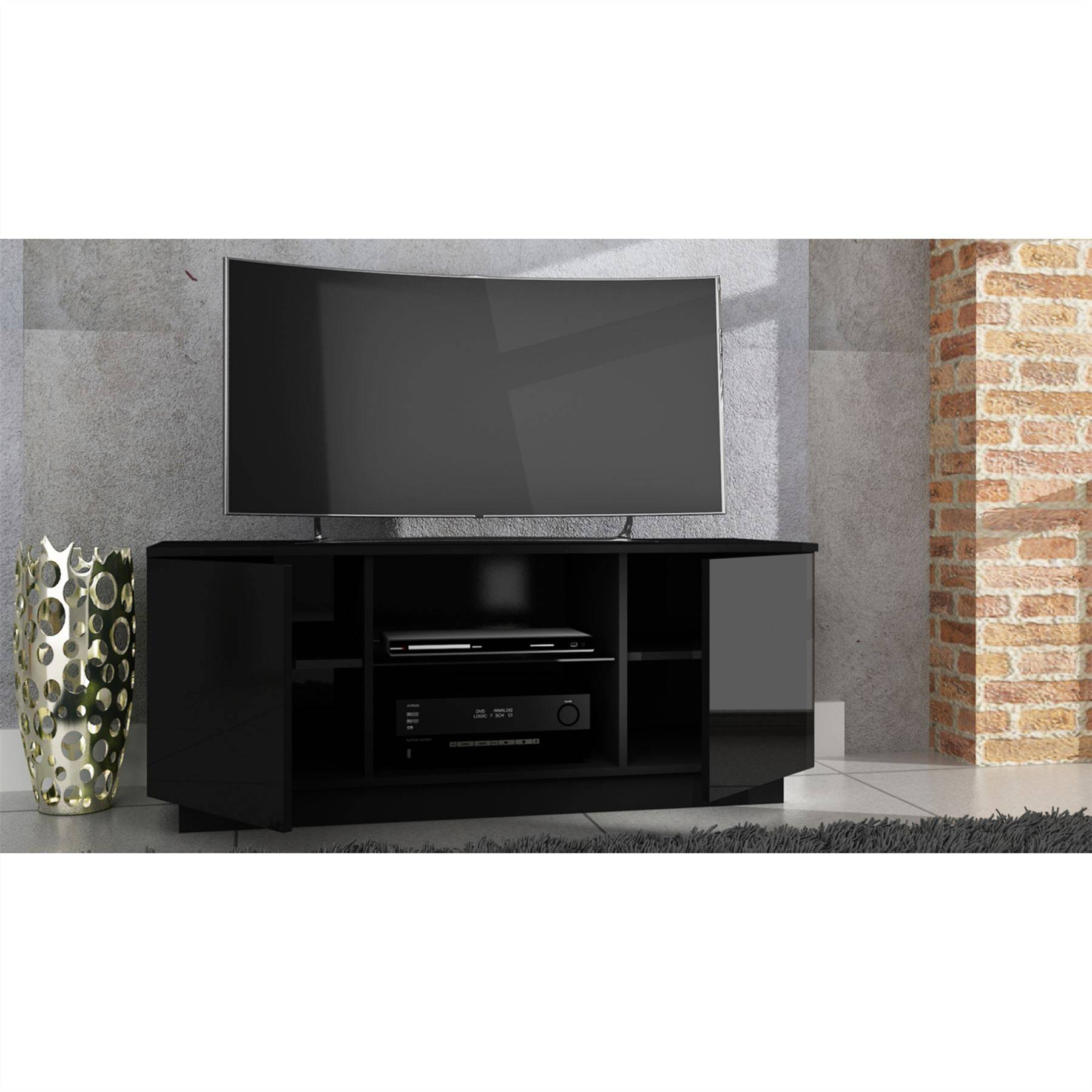 Bench. High Gloss Tv Bench: Modern Tv Stand Cm High Gloss Cabinet for Black High Gloss Corner Tv Unit (Image 2 of 15)