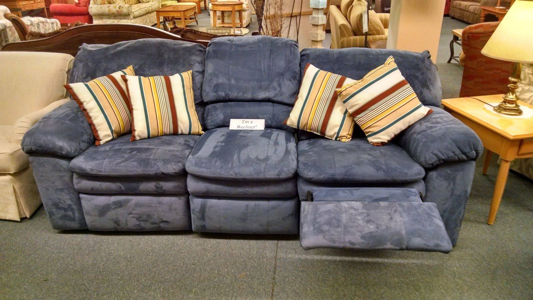Berkline Blue Reclining Sofa | Delmarva Furniture Consignment intended for Berkline Reclining Sofas (Image 5 of 15)