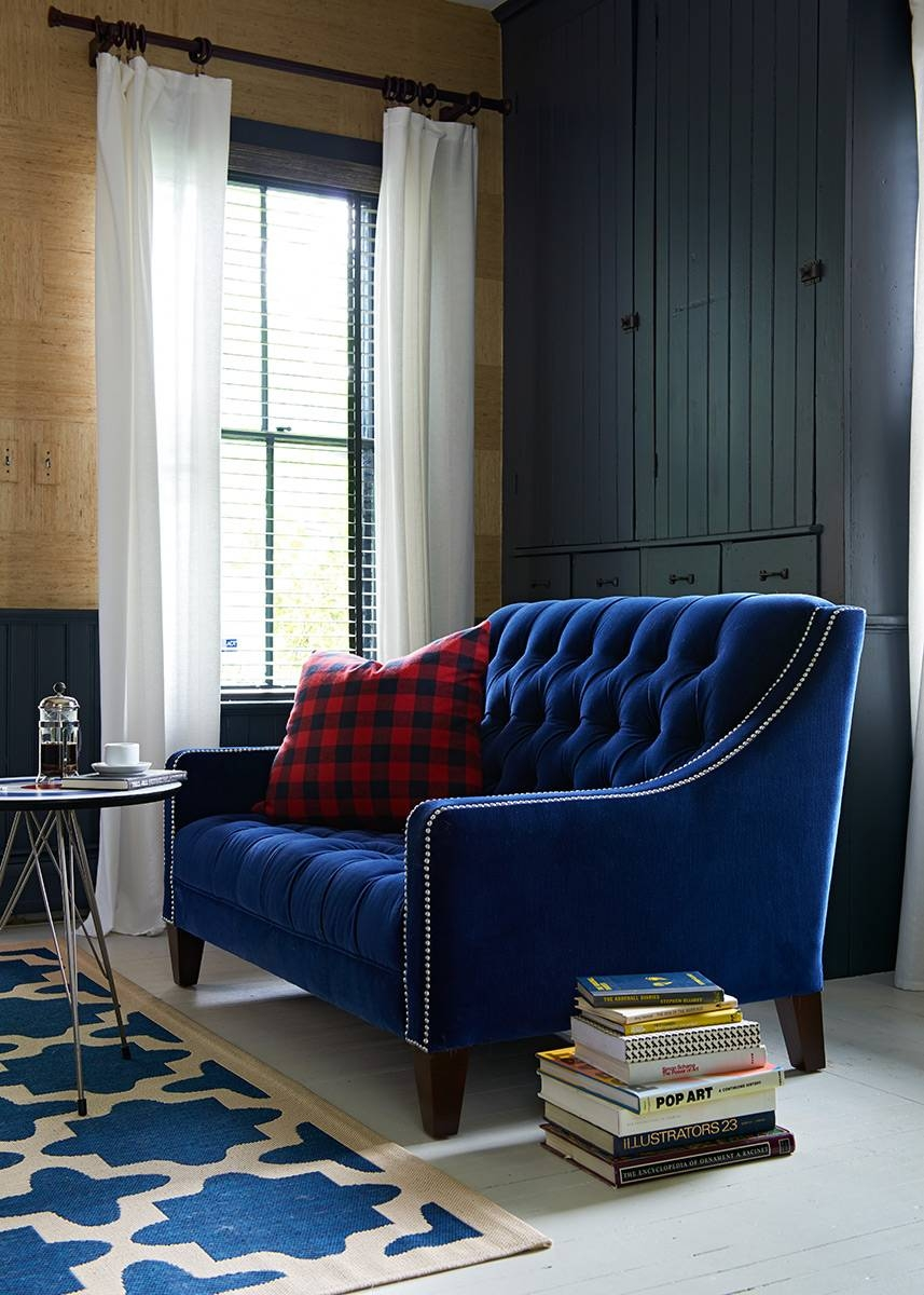 Best Blue Velvet Sofas | Blog | Roger + Chris with regard to Blue Velvet Tufted Sofas (Image 1 of 15)