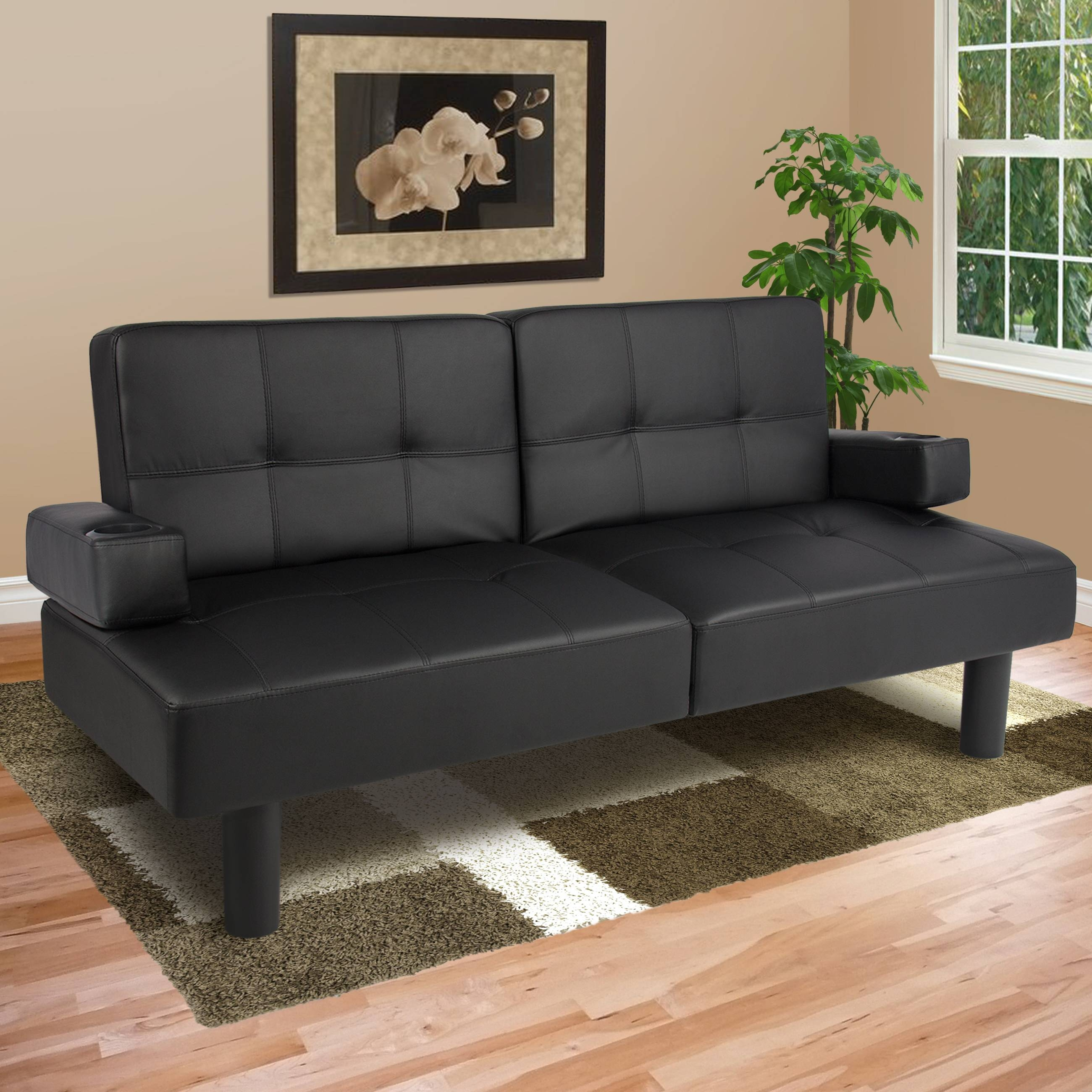 Best Choice Products Modern Leather Futon Sofa Bed Fold Up & Down throughout Small Black Futon Sofa Beds (Image 2 of 15)