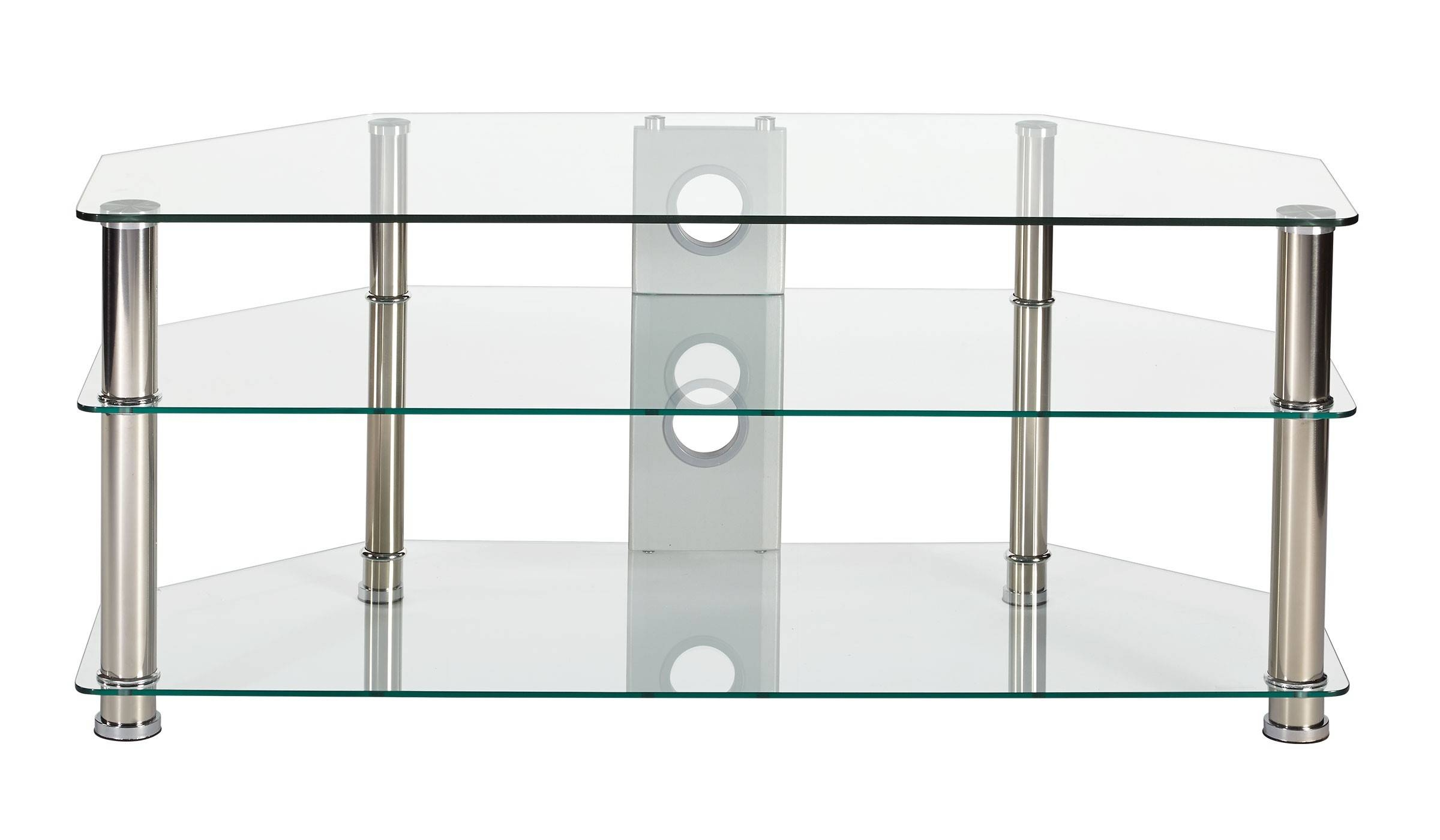 Best Clear Glass Stand For Up To 55-Inch Tv With Chrome Legs inside Clear Glass Tv Stand (Image 4 of 15)