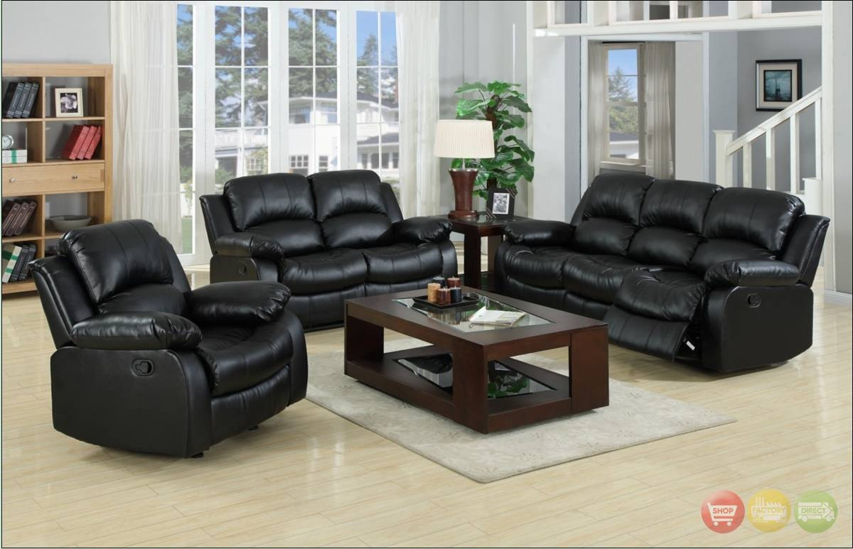 Best Living Room Leather Sofa With Kaden Black Bonded Leather pertaining to Black Leather Sofas and Loveseat Sets (Image 2 of 15)