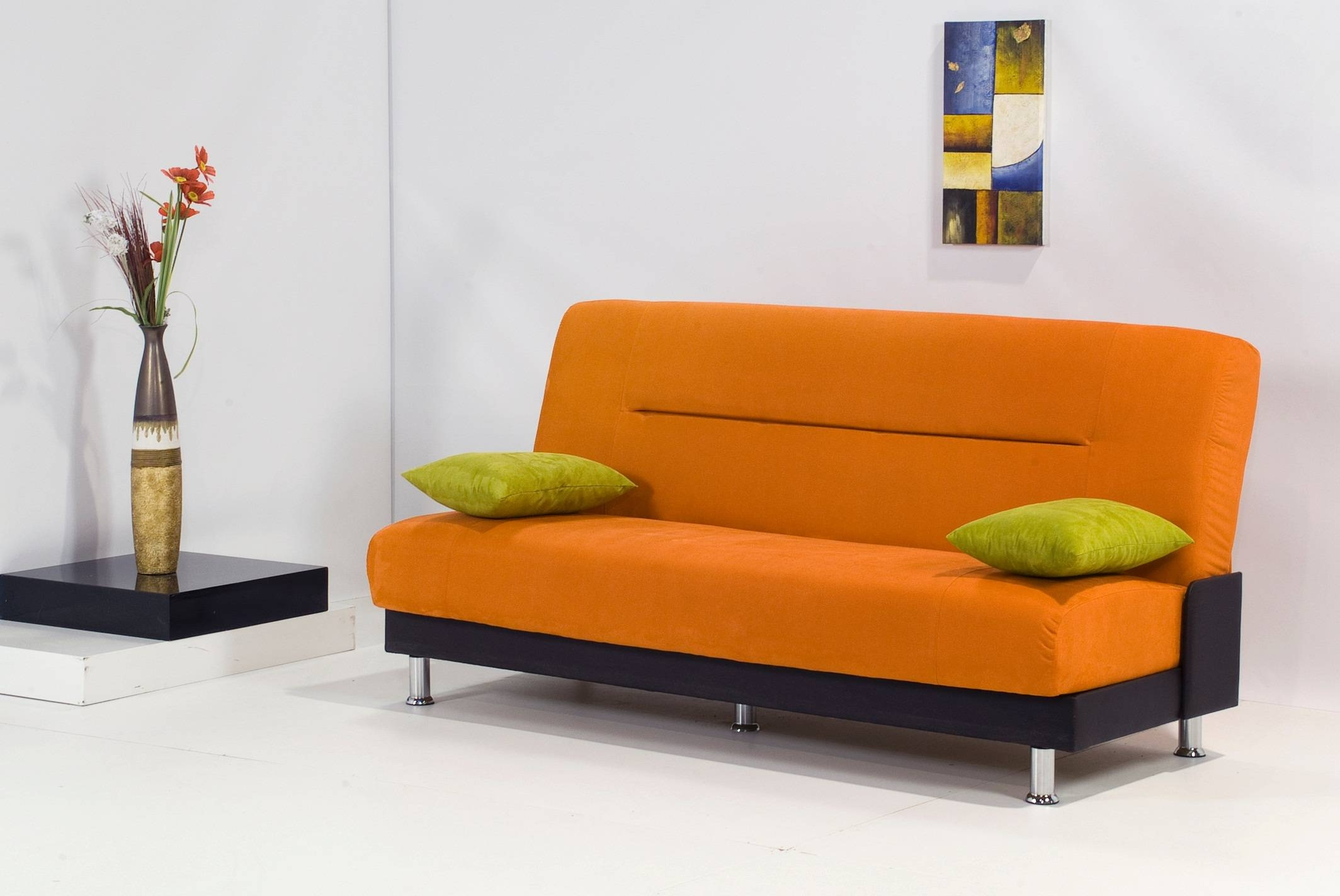 Best Modern Sleeper Sofa With Orange Fabric Cover And Black Cover throughout Orange Modern Sofas (Image 4 of 15)